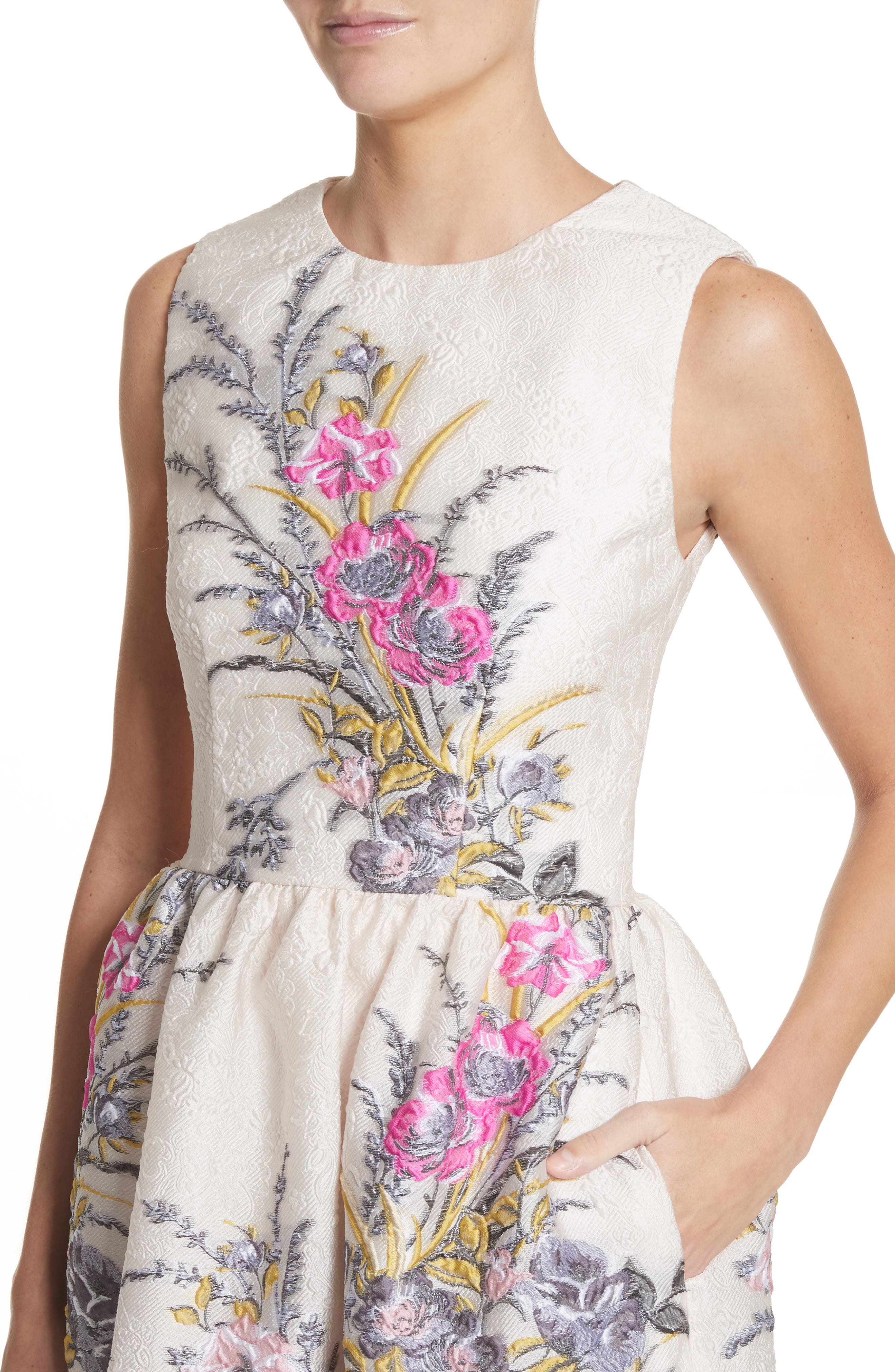 Floral Embroidered Jacquard Dress,                             Alternate thumbnail 4, color,                             Off White Fuchsia