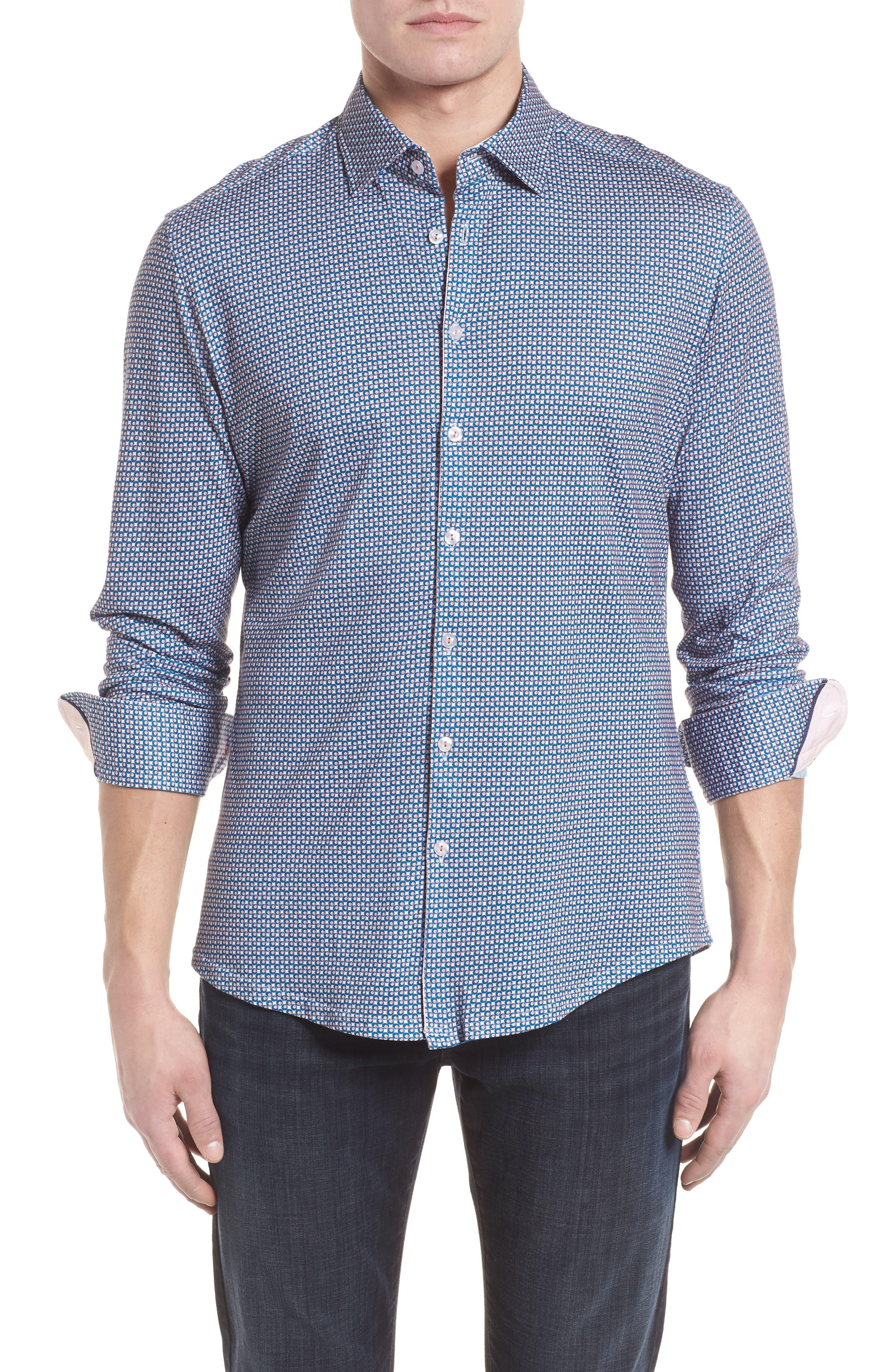 Contemporary Fit Circle Print Sport Shirt,                         Main,                         color, Peach