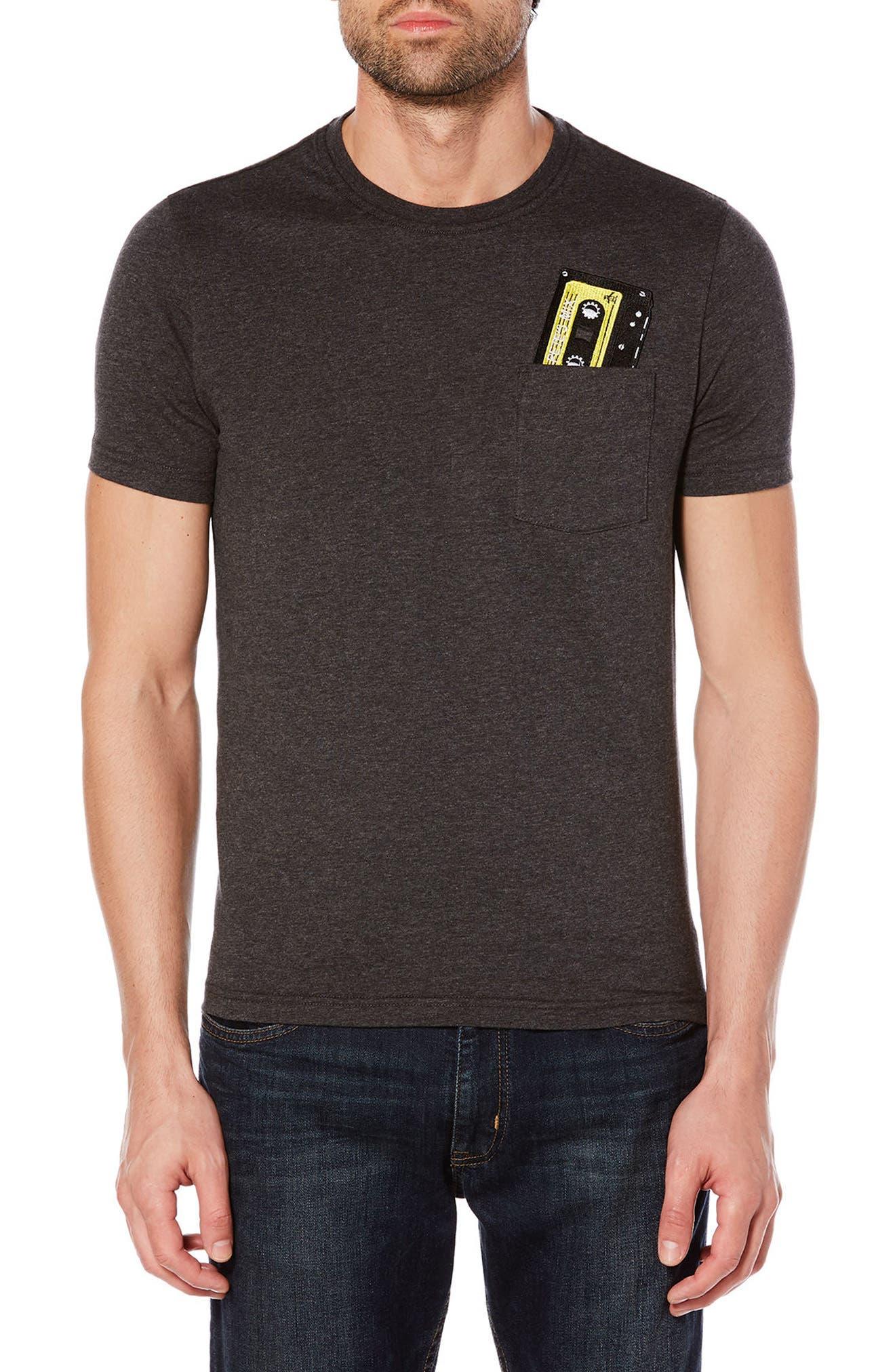 Cassette Pocket T-Shirt,                         Main,                         color, Dark Charcoal Heather