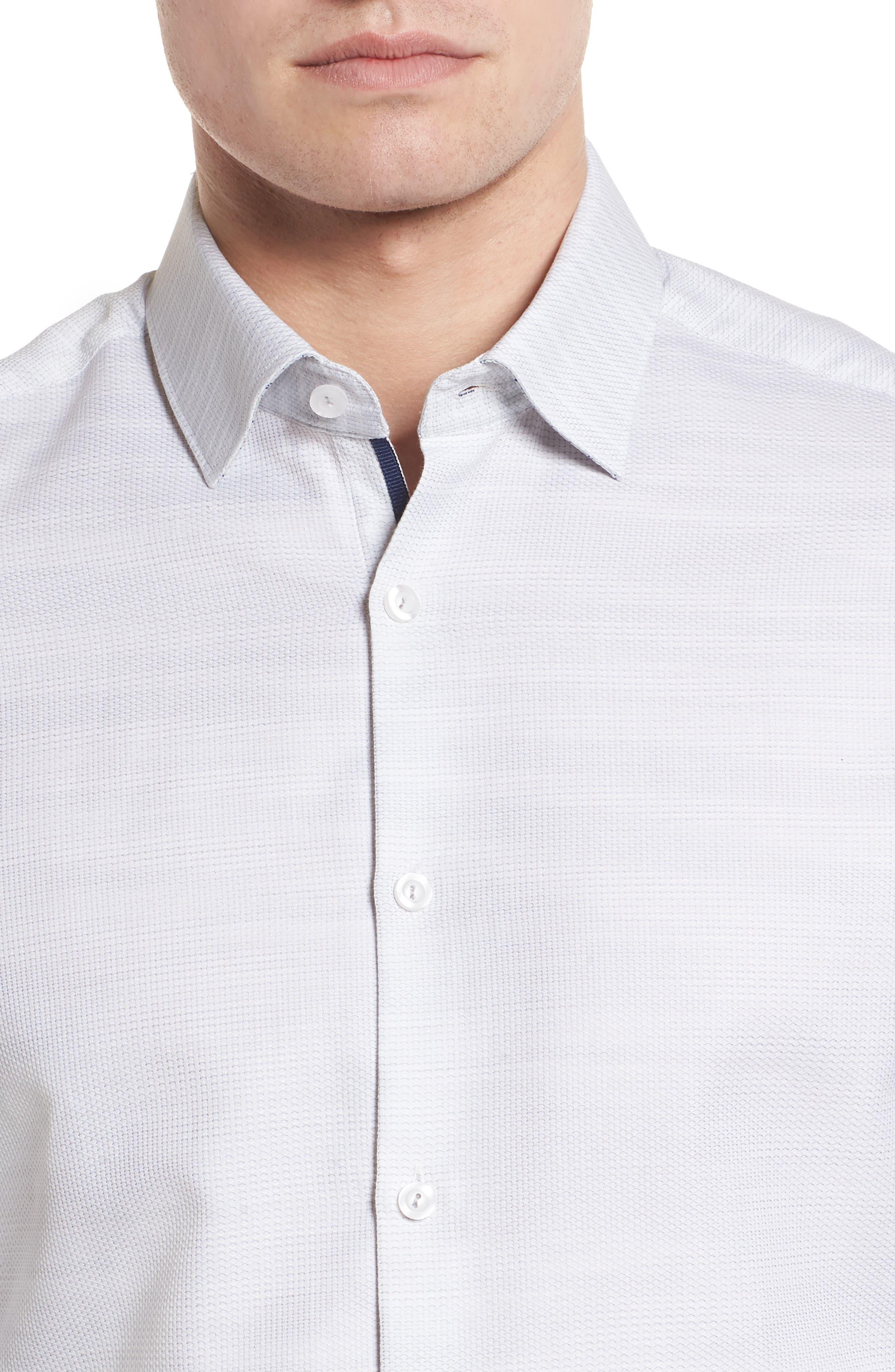 Contemporary Fit Mélange Texture Sport Shirt,                             Alternate thumbnail 4, color,                             Sand