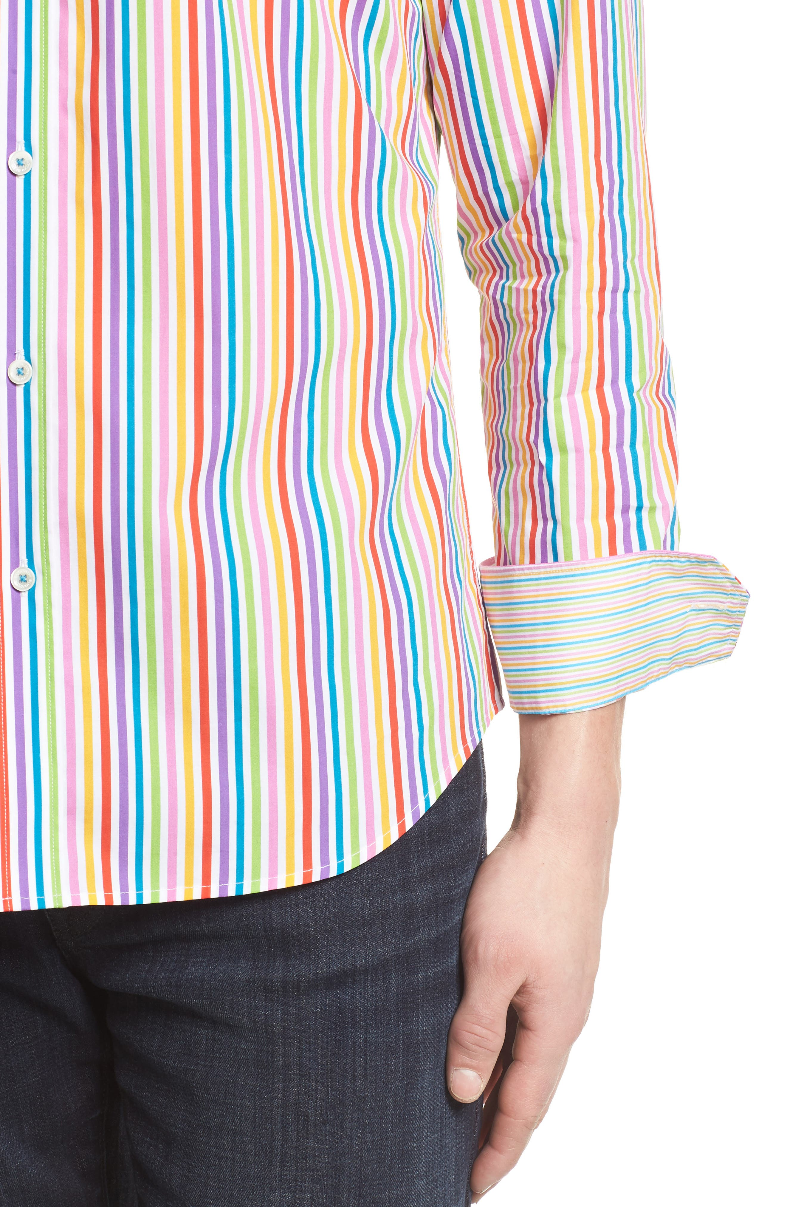 Classic Fit Woven Sport Shirt,                             Alternate thumbnail 4, color,                             Candy