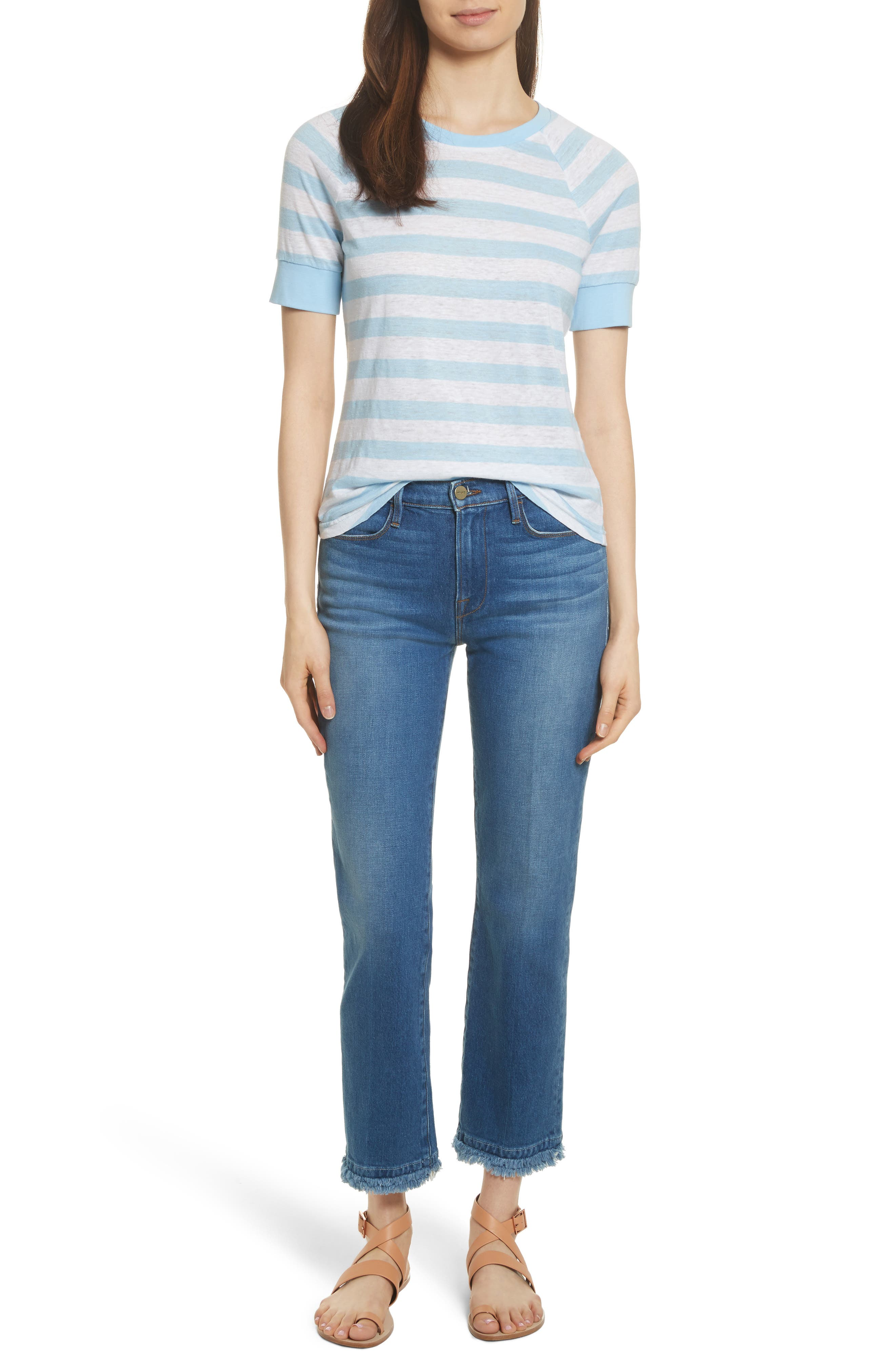 Le High Double Raw Edge High Waist Jeans,                             Alternate thumbnail 8, color,                             Whitway