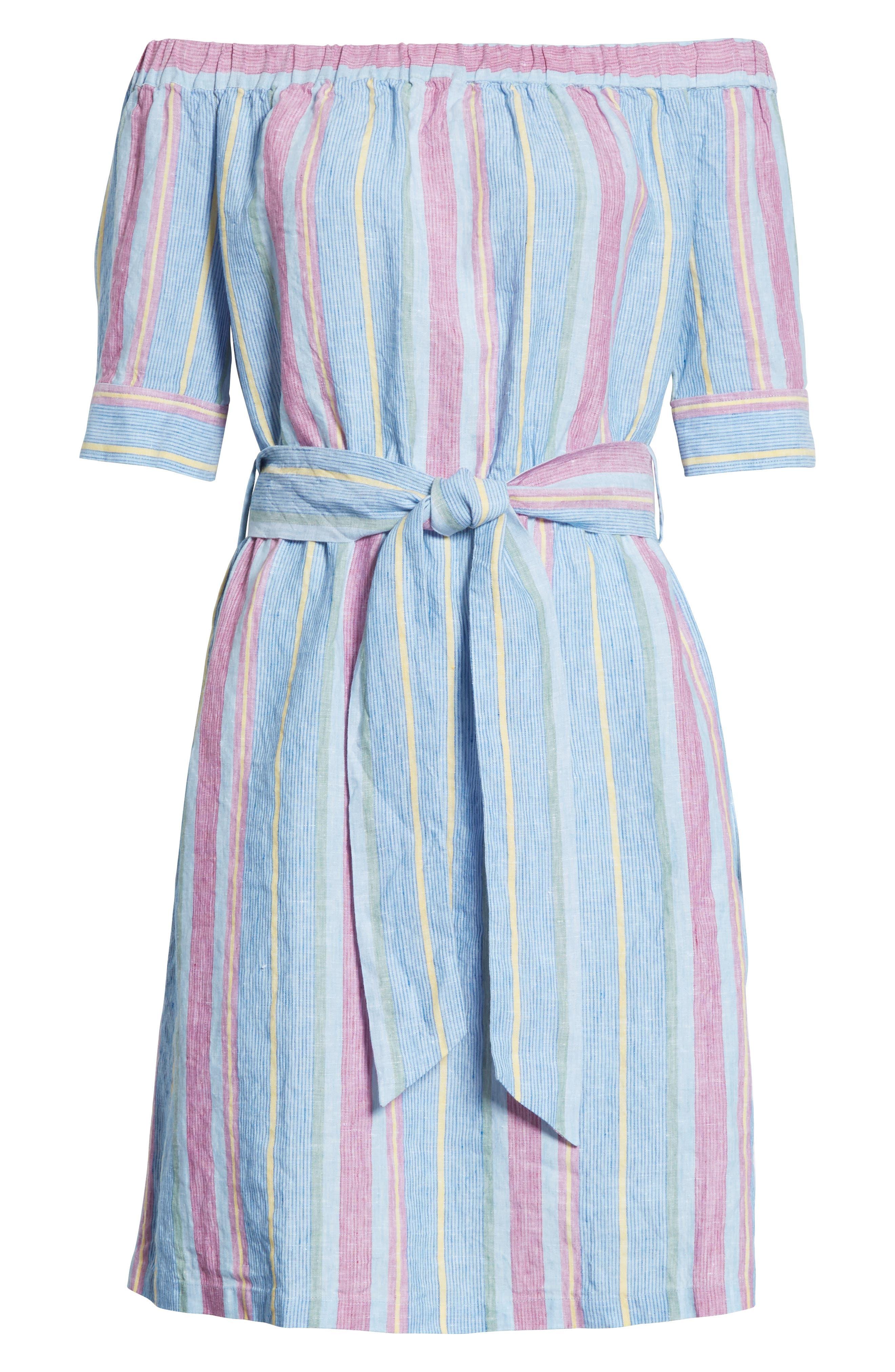 Stripe Off the Shoulder Linen Dress,                             Alternate thumbnail 6, color,                             Purple Multi