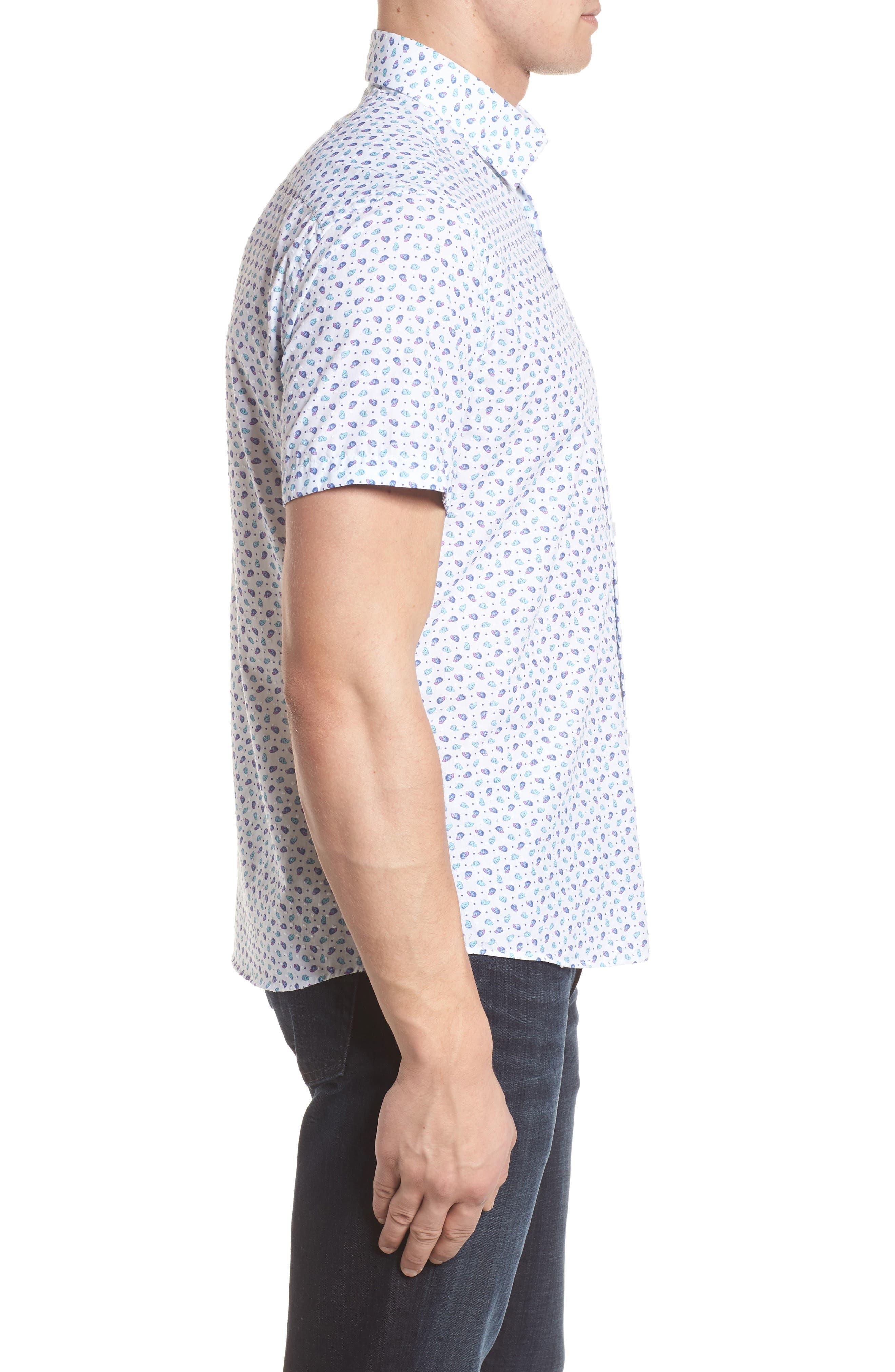 Contemporary Fit Cap Print Sport Shirt,                             Alternate thumbnail 3, color,                             White