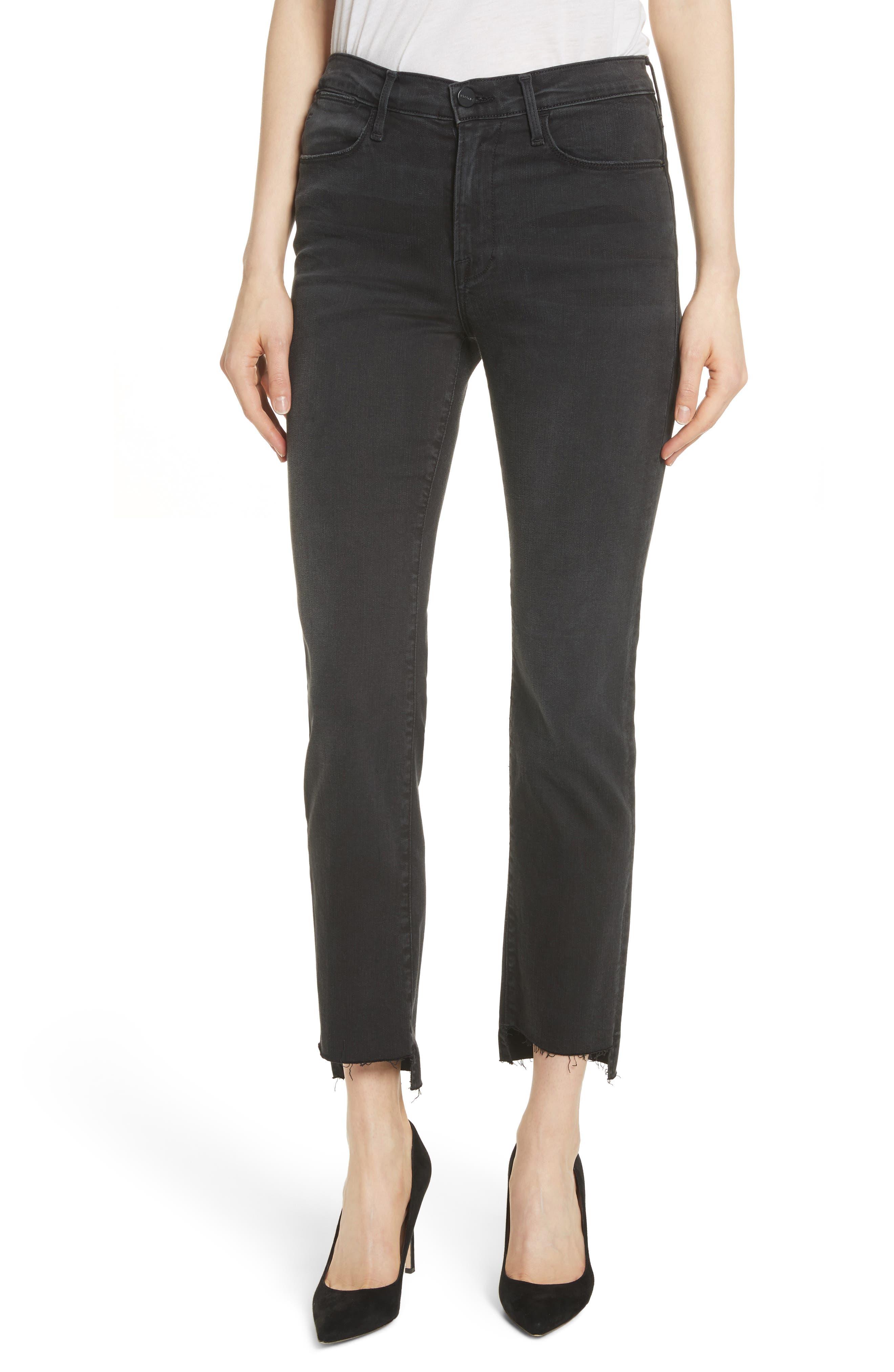 Le High Raw Stagger Straight Jeans,                         Main,                         color, Mallard