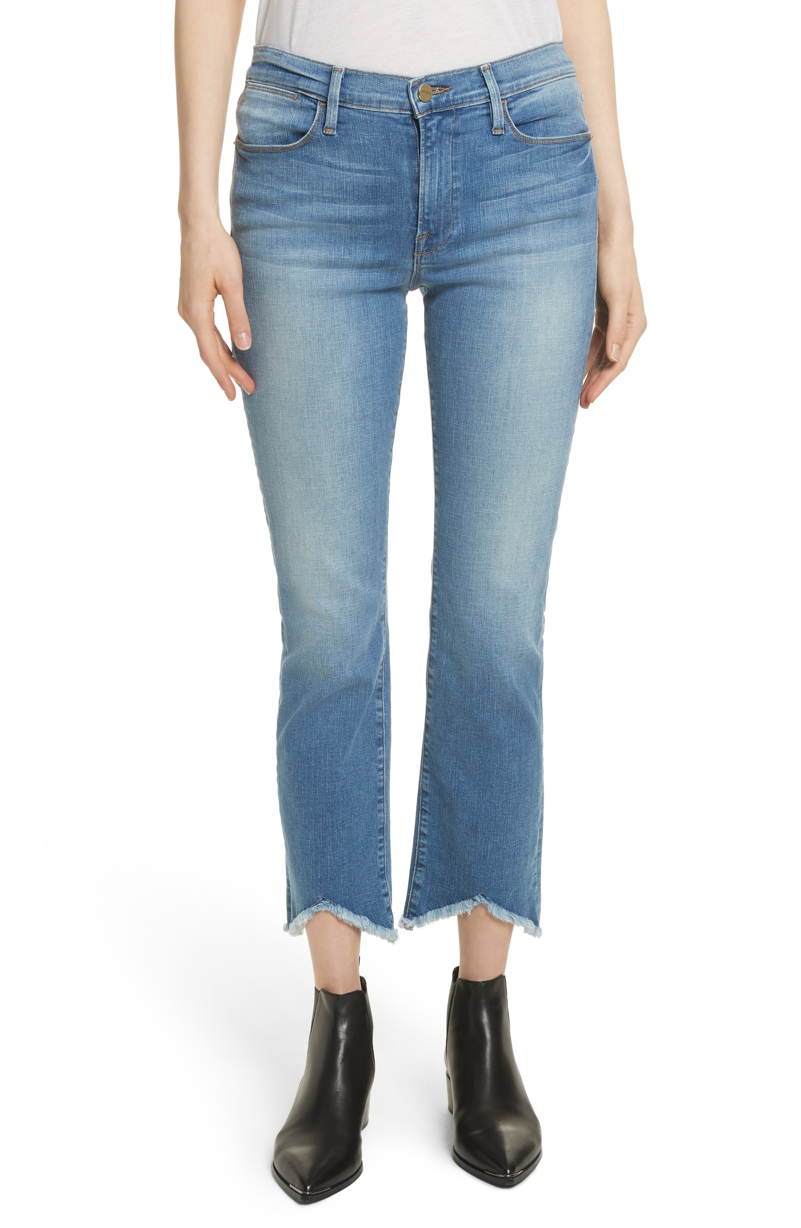 Le High Straight High Waist Triangle Hem Jeans,                         Main,                         color, White Chapel