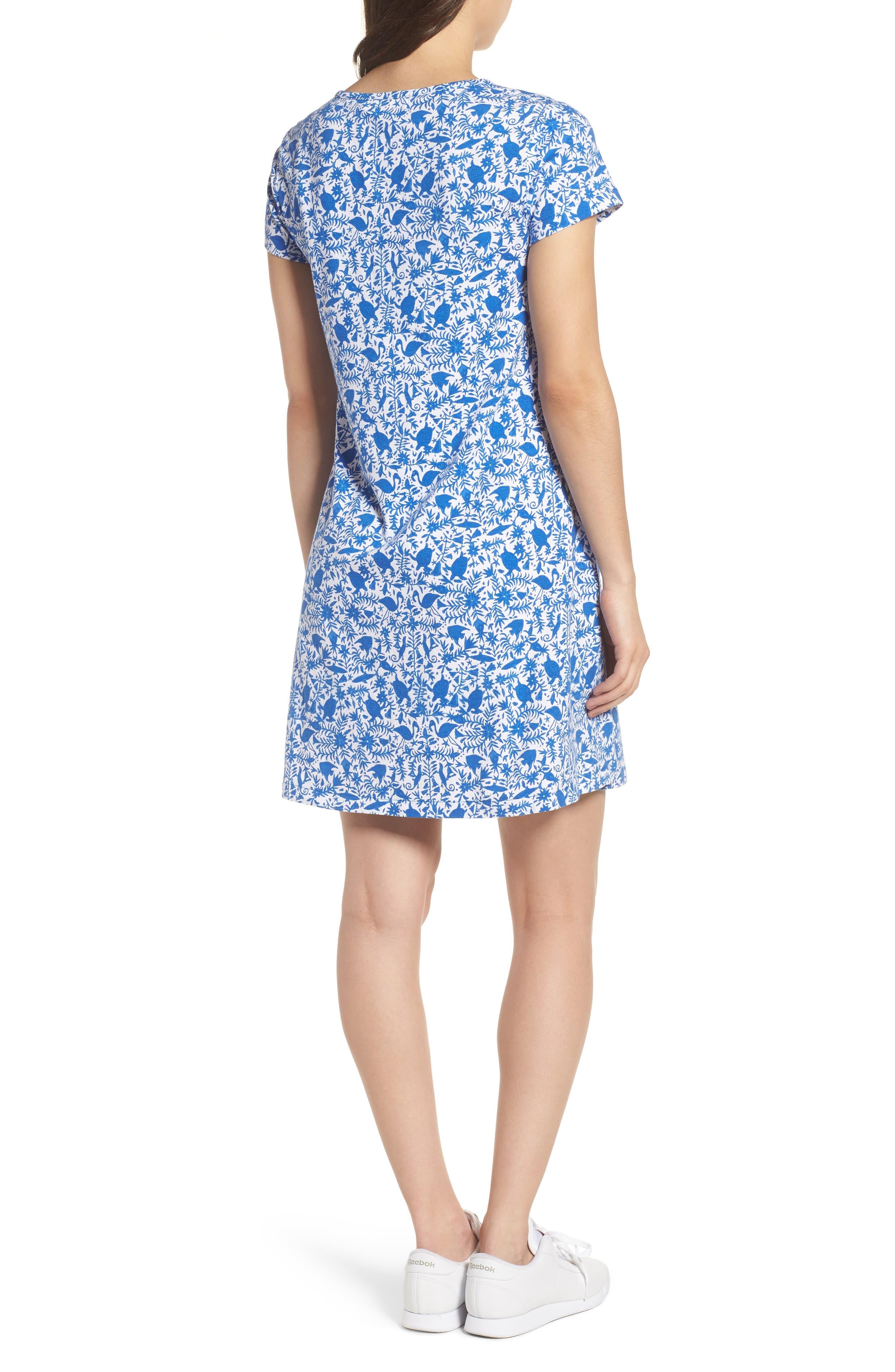 Bahamas Otomi Print Stretch Cotton Dress,                             Alternate thumbnail 2, color,                             Yacht Blue