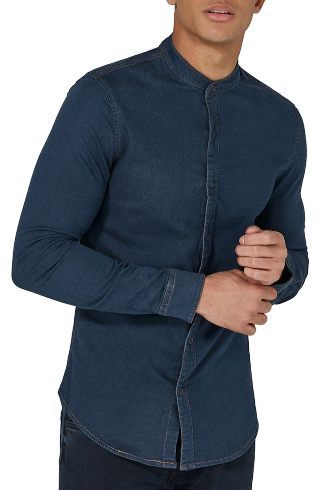 Band Collar Denim Shirt,                             Alternate thumbnail 3, color,                             Blue