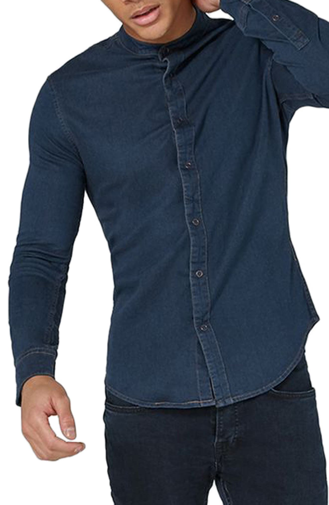 Band Collar Denim Shirt,                         Main,                         color, Blue