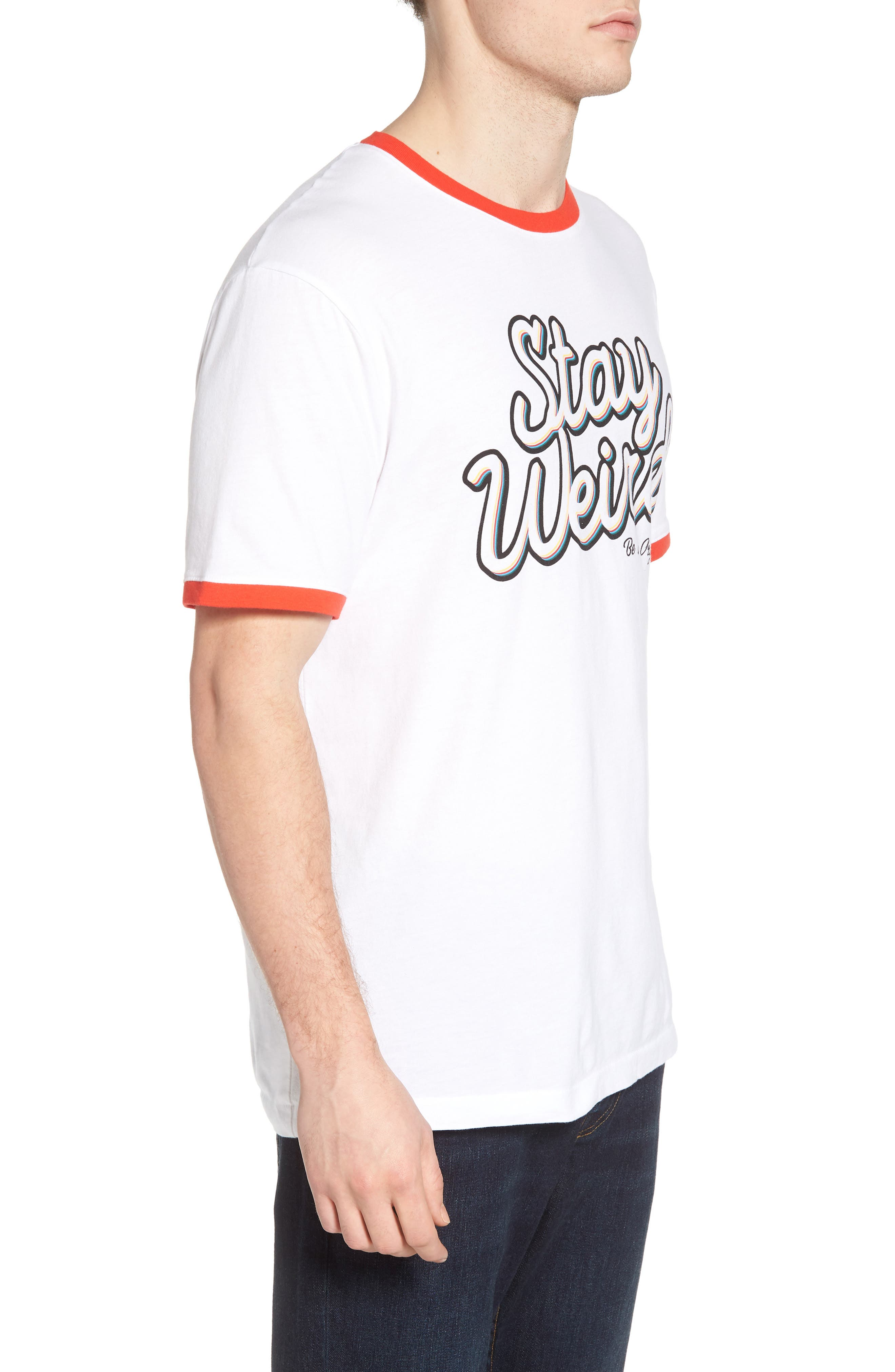 Stay Weird T-Shirt,                             Alternate thumbnail 3, color,                             Bright White