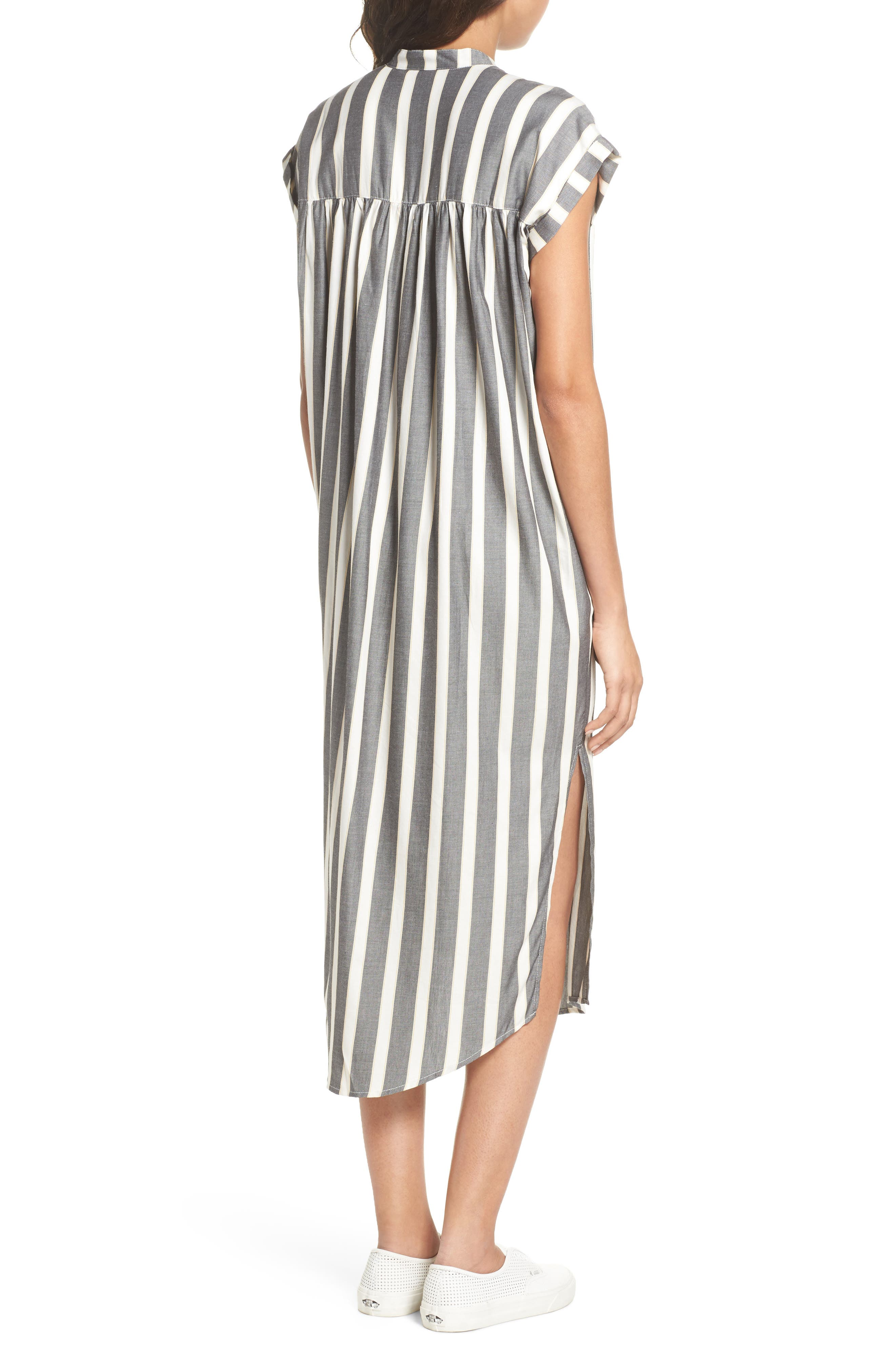 Haze Shirtdress,                             Alternate thumbnail 2, color,                             Black With Cream Stripe