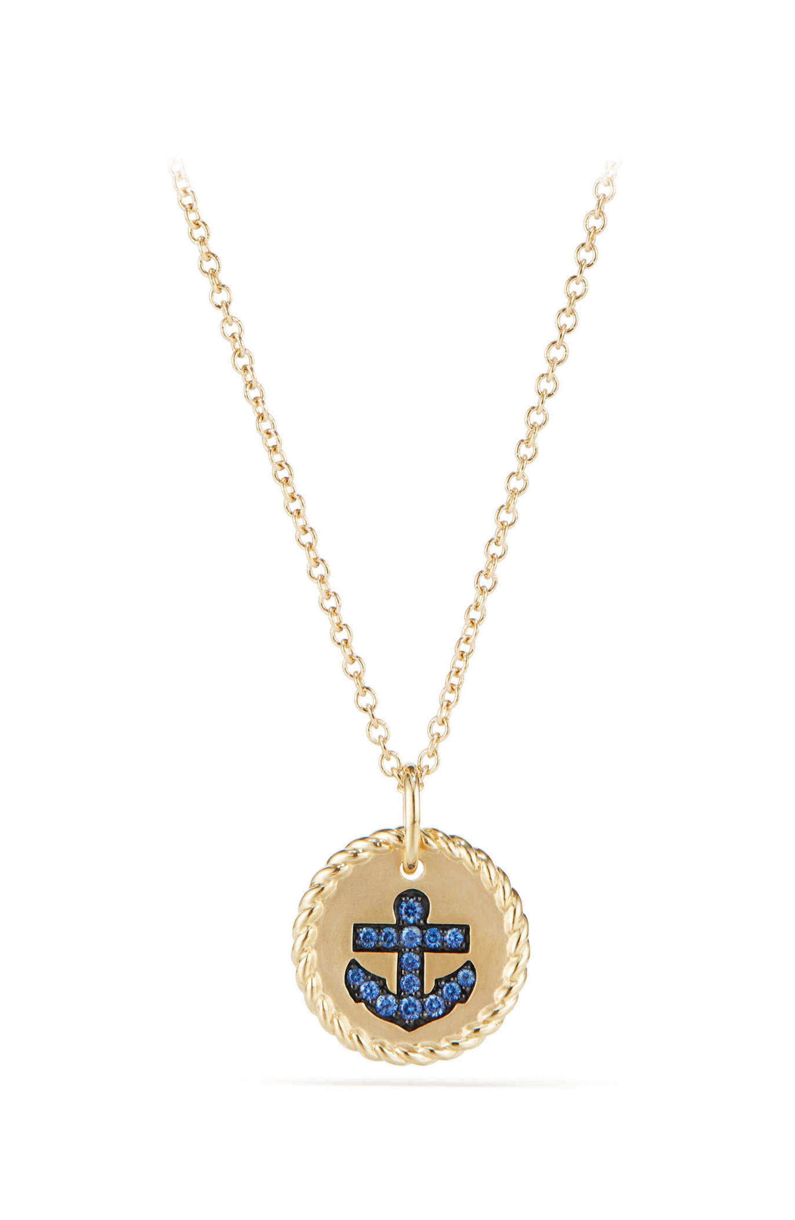 David Yurman Cable Collectibles Anchor Necklace with Light Blue Sapphires in 18K Gold