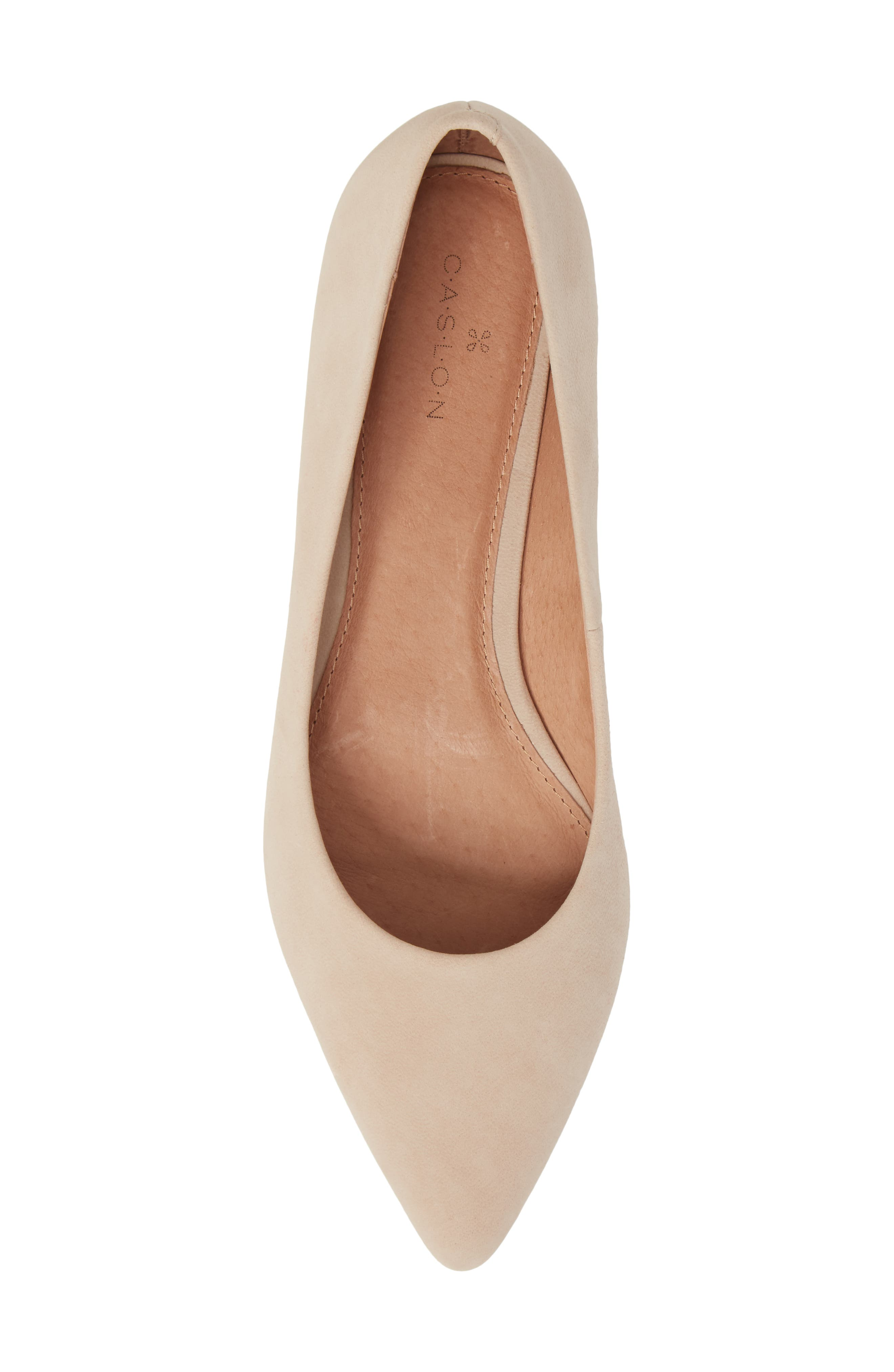Luna Pointy Toe Flat,                             Alternate thumbnail 5, color,                             Nude Nubuck