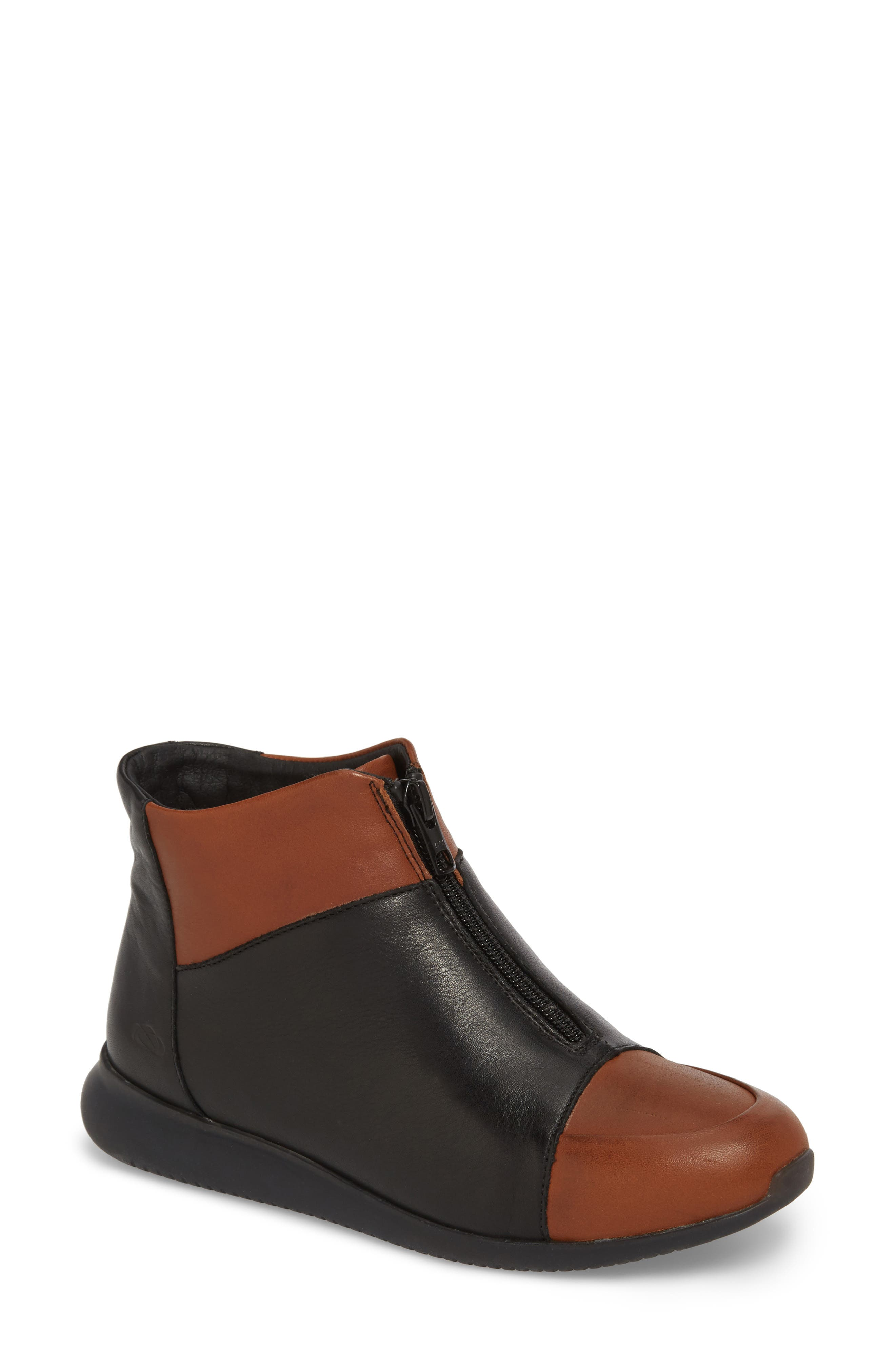 Roy Wool Lined Cap Toe Bootie,                             Main thumbnail 1, color,                             Cuoio/ Black Leather