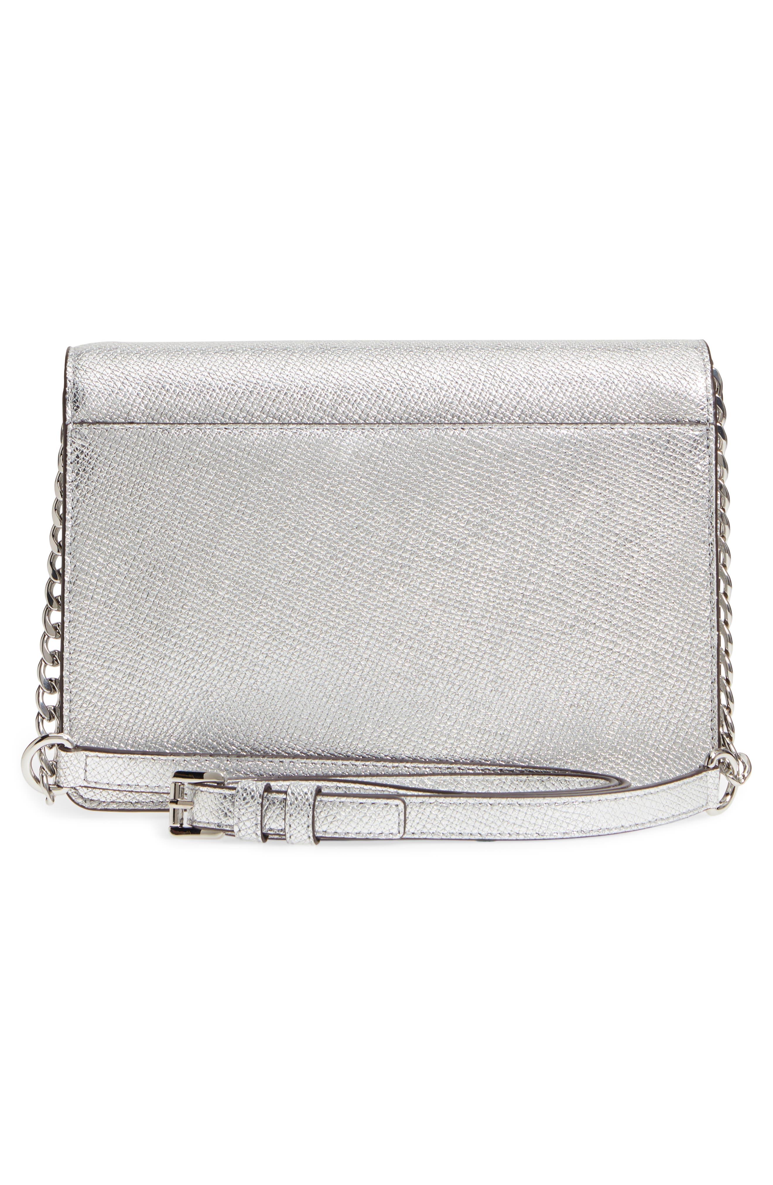 MICHAEL Michael Kors Large Metallic Leather Crossbody Bag,                             Alternate thumbnail 3, color,                             Silver