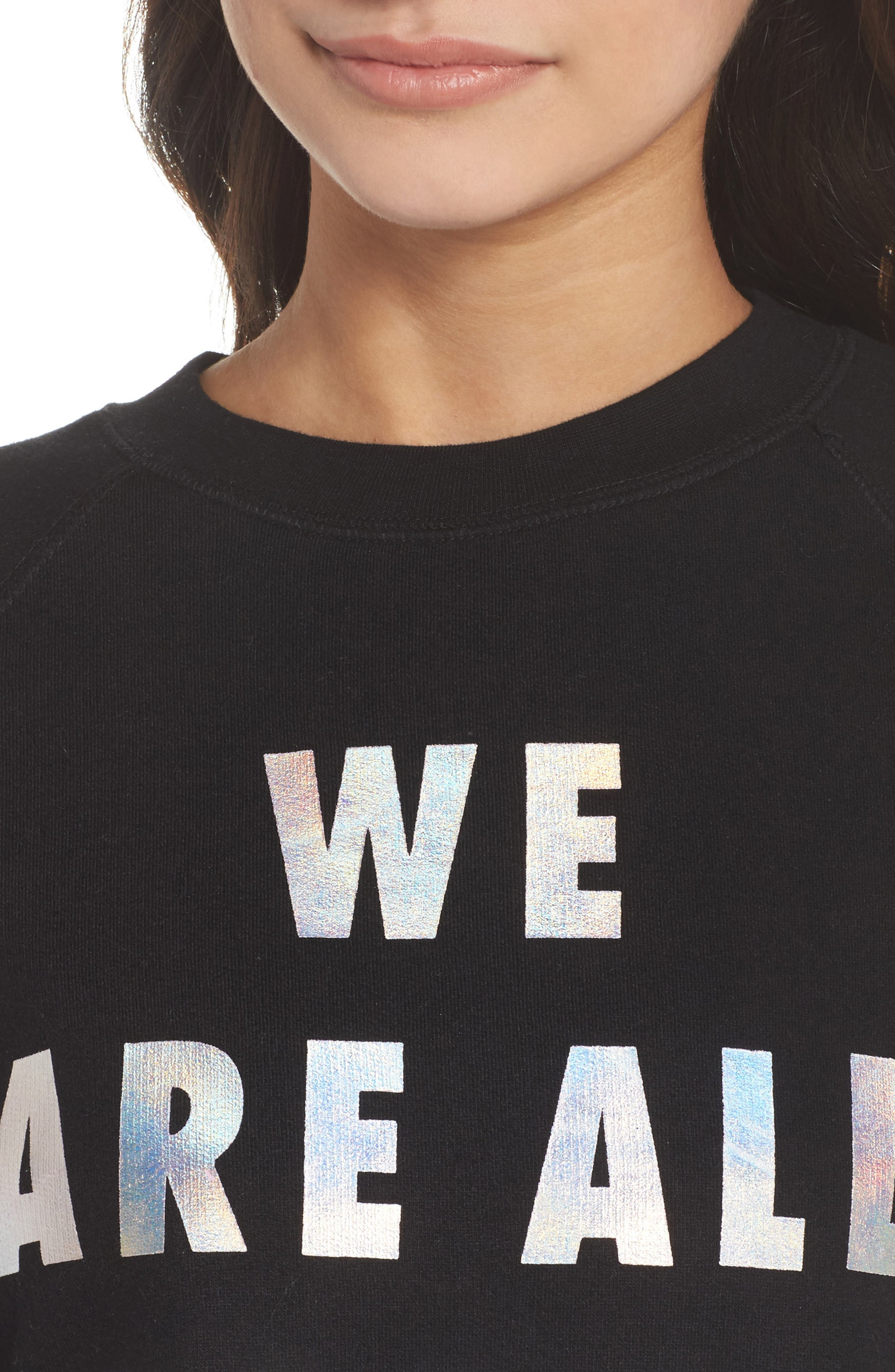 We Are All Babes Sweatshirt,                             Alternate thumbnail 5, color,                             Black