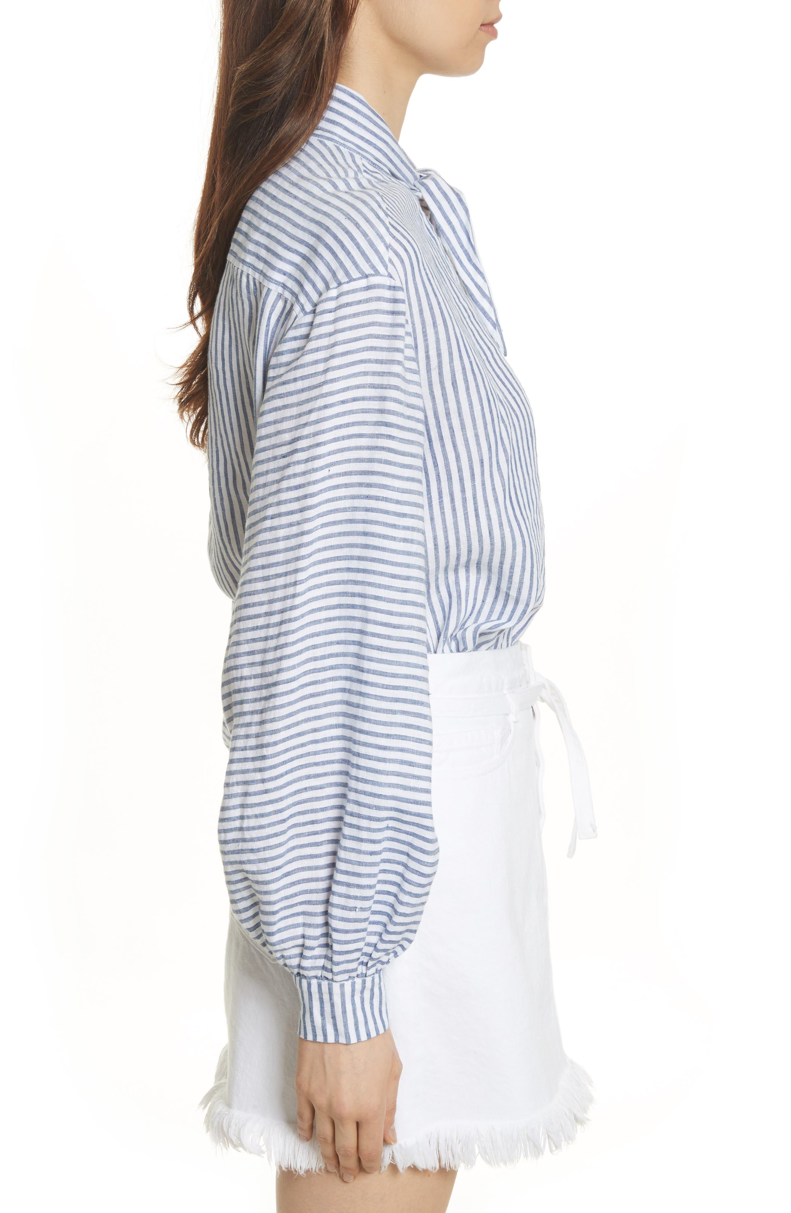 Stripe Handkerchief Blouse,                             Alternate thumbnail 4, color,                             Medium Blue Multi