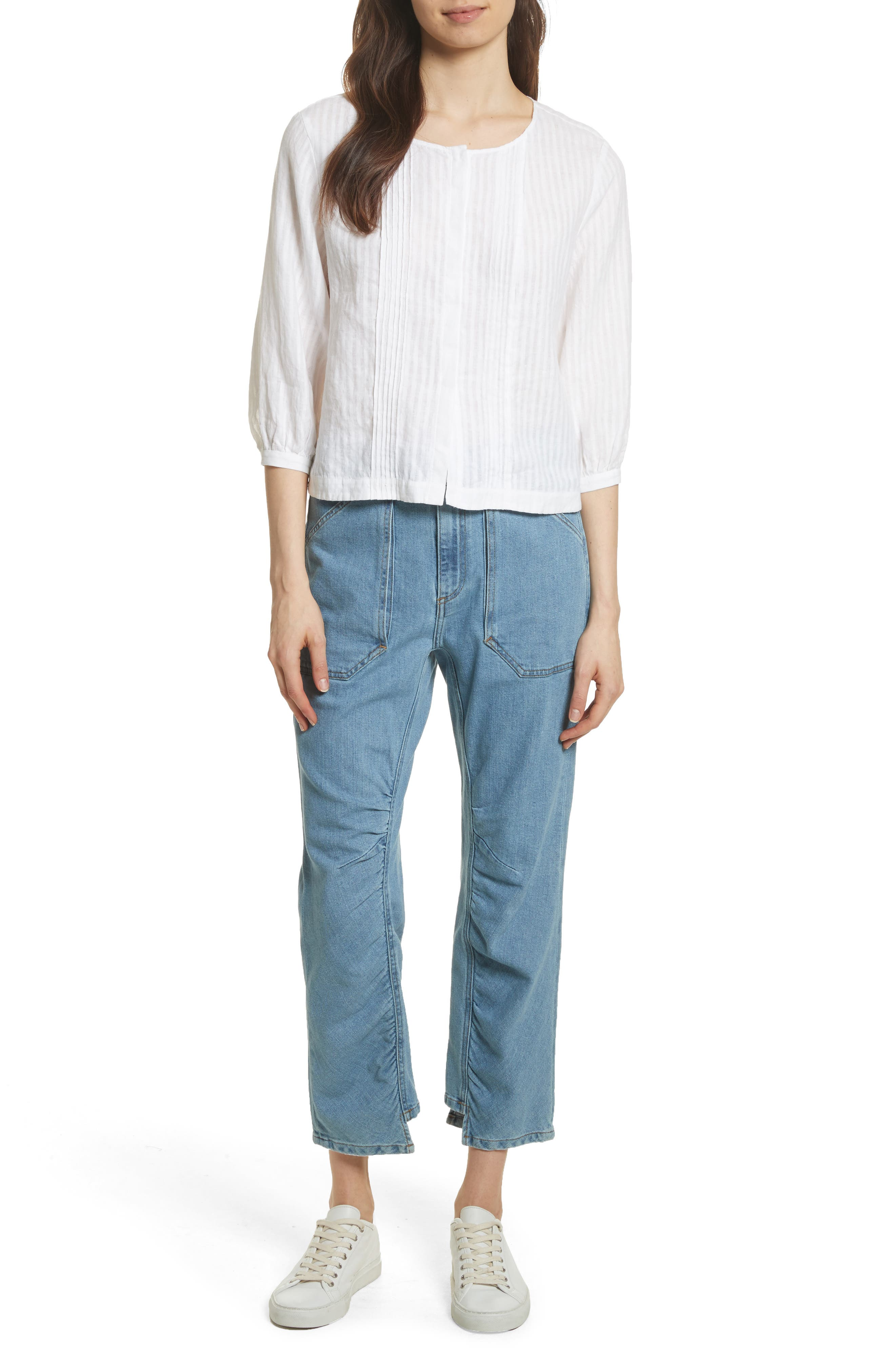Pintucked Linen Top,                             Alternate thumbnail 7, color,                             Blanc