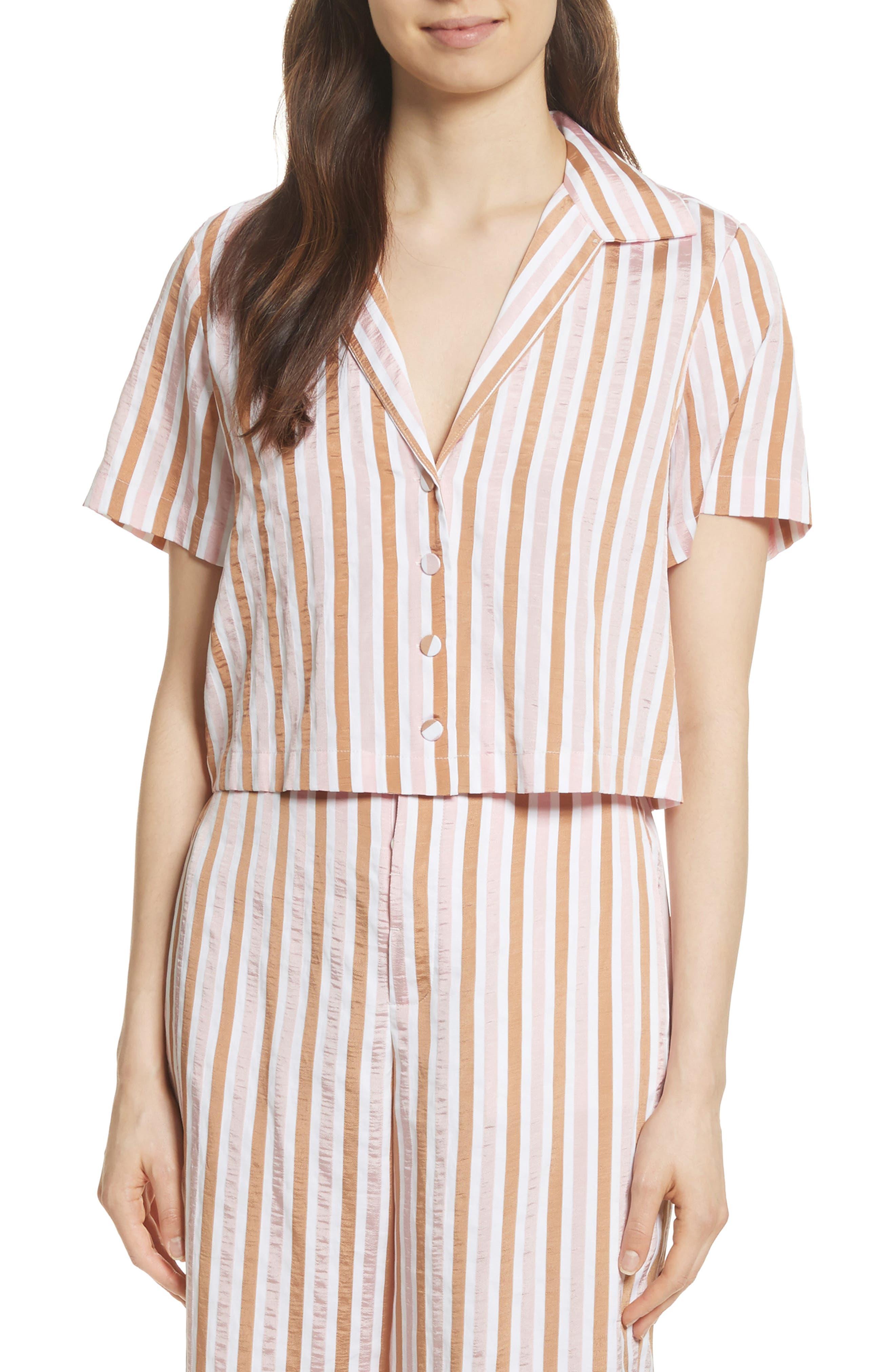 Stripe Mini Crop Shirt,                         Main,                         color, Copper Multi