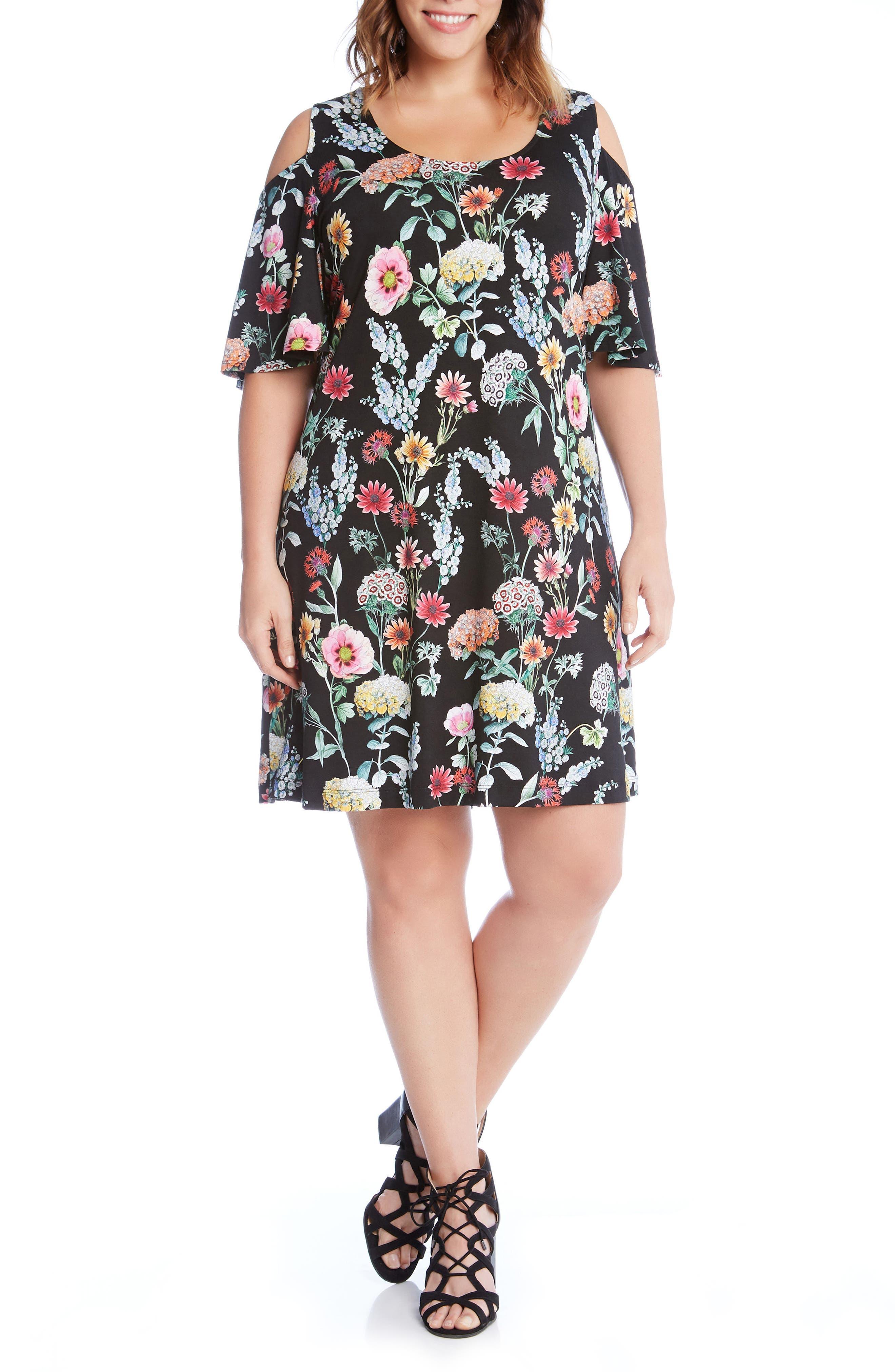 Karen Kane Floral Cold Shoulder A-Line Dress (Plus Size)