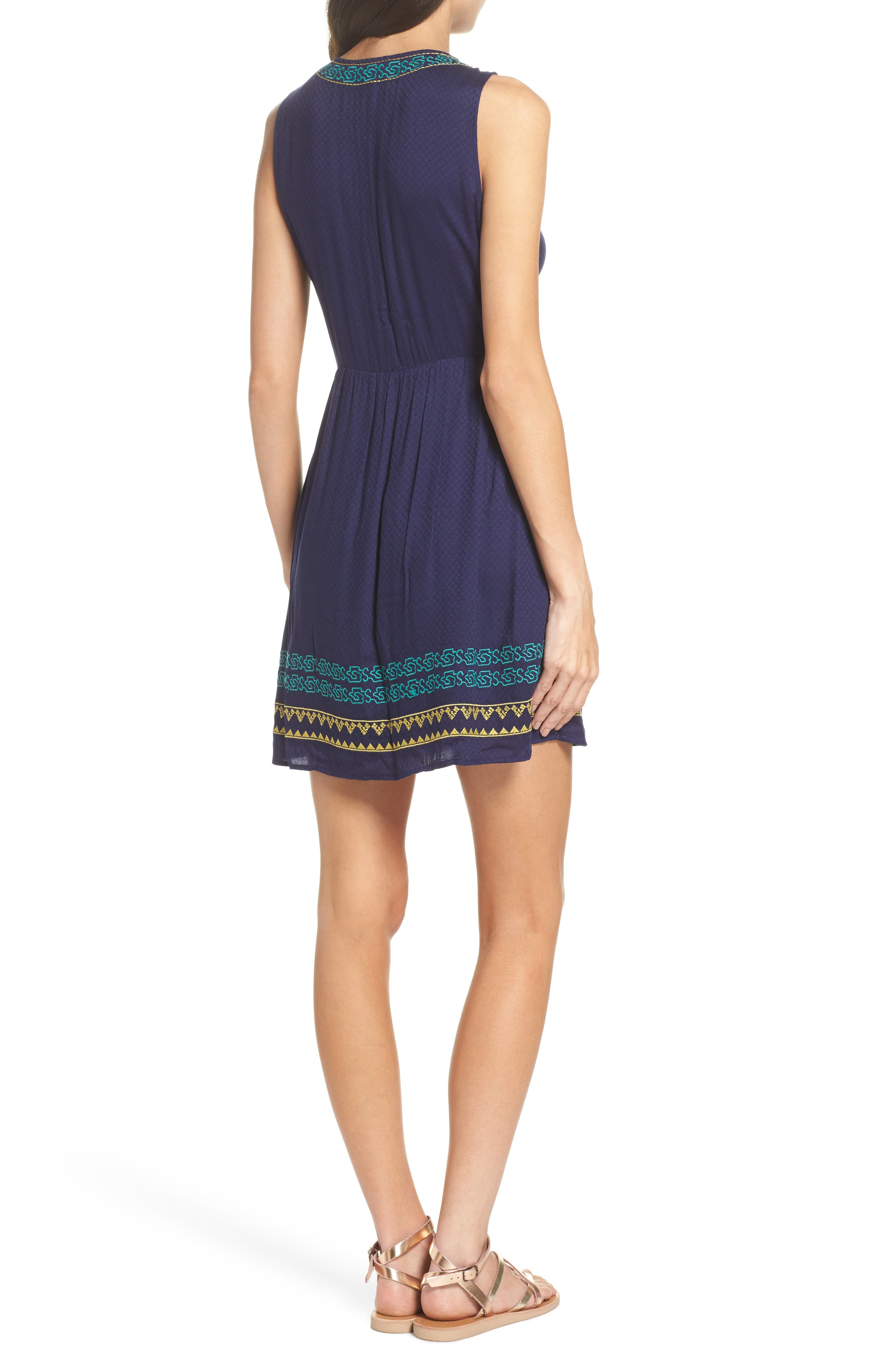 Sleeveless Embroidered A-Line Dress,                             Alternate thumbnail 2, color,                             Navy