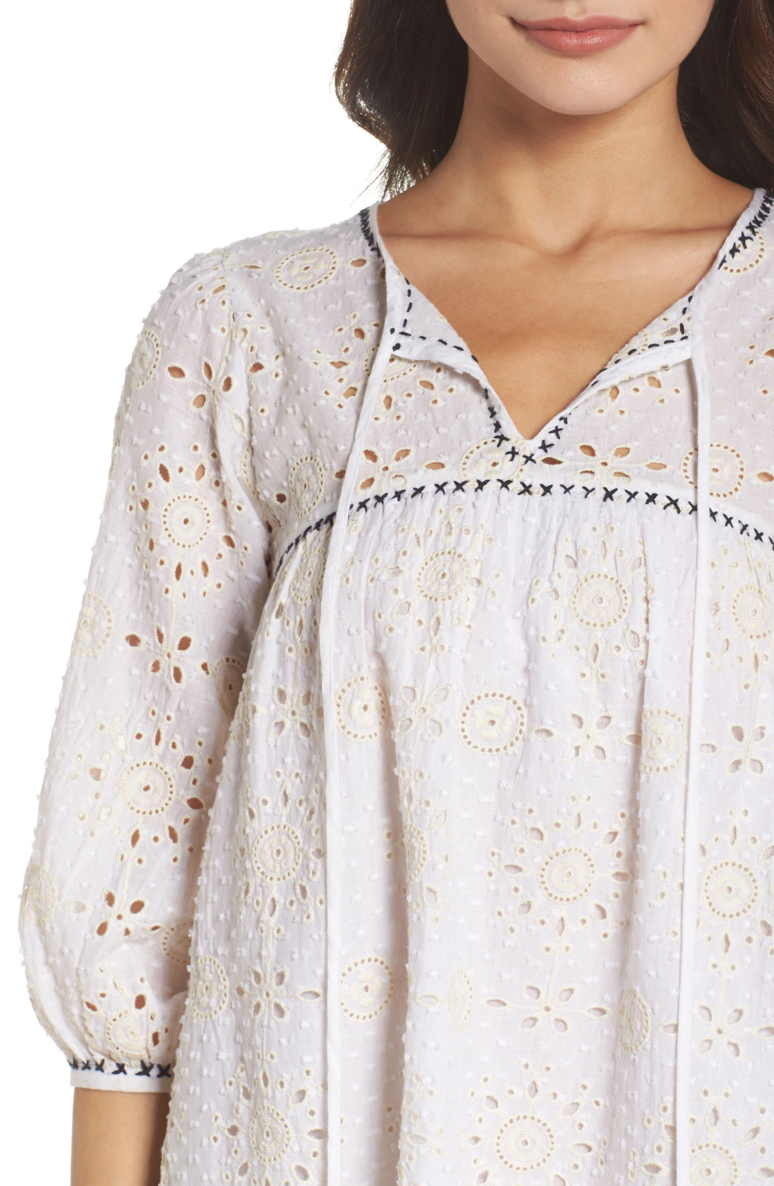 Eyelet Babydoll Dress,                             Alternate thumbnail 4, color,                             Cream