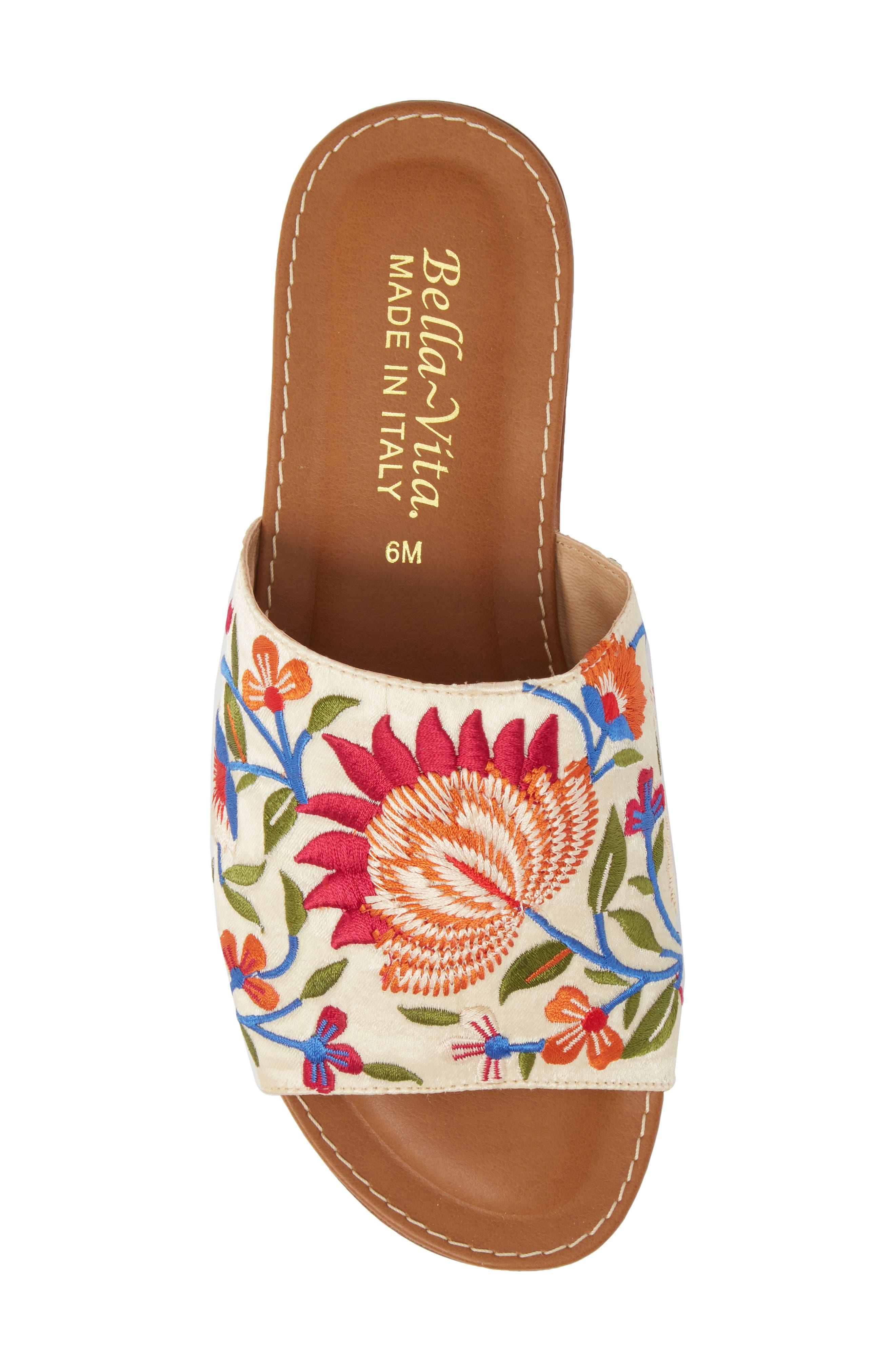 Abi Slide Sandal,                             Alternate thumbnail 5, color,                             Beige Embroidered Fabric