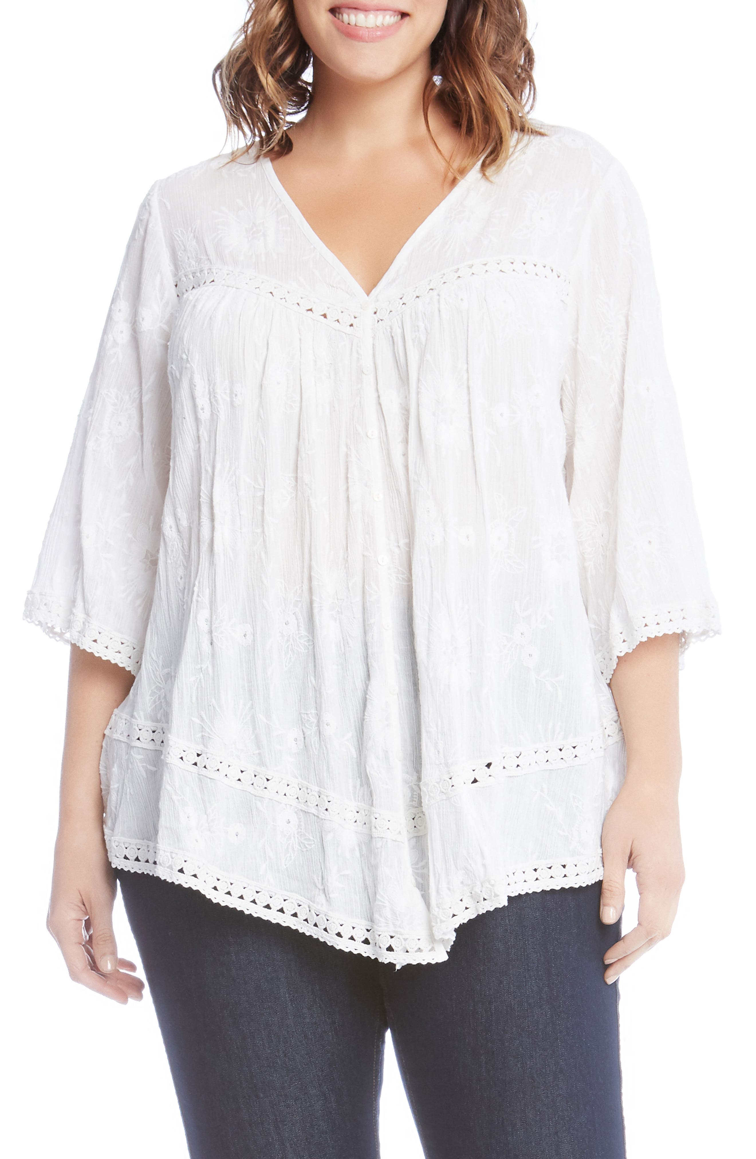 Embroidered Gauze Top,                             Main thumbnail 1, color,                             White
