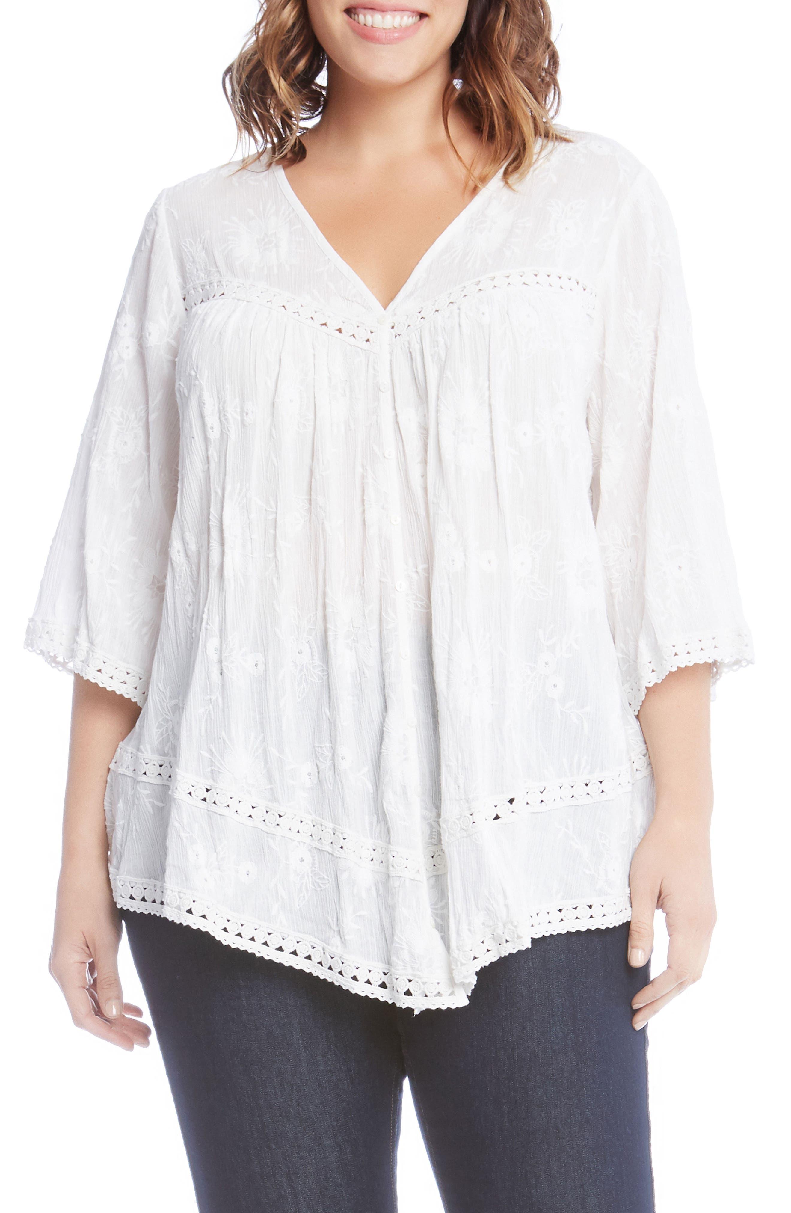 Alternate Image 1 Selected - Karen Kane Embroidered Gauze Top (Plus Size)