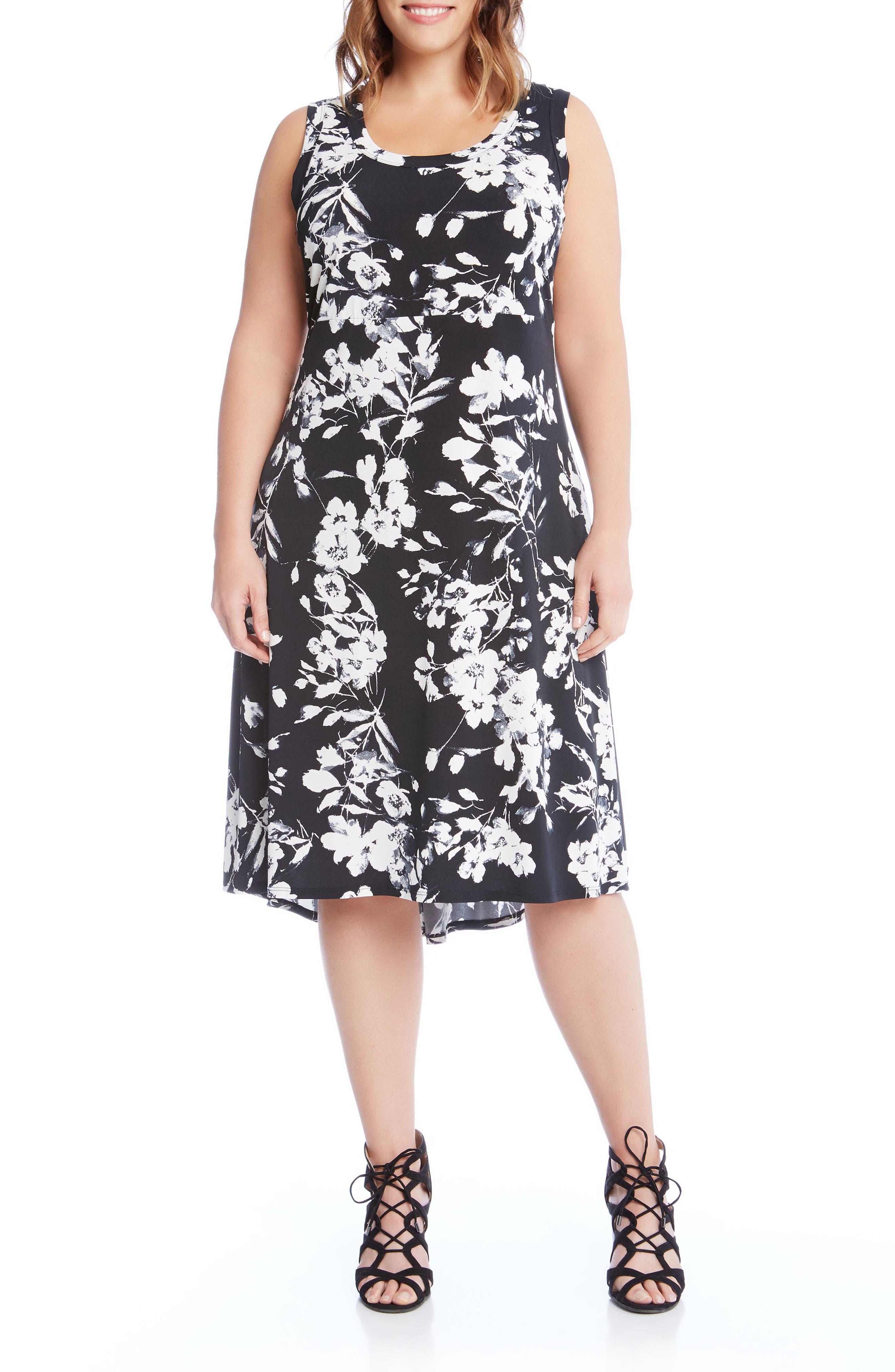 Floral High/Low A-Line Dress,                             Main thumbnail 1, color,                             Black