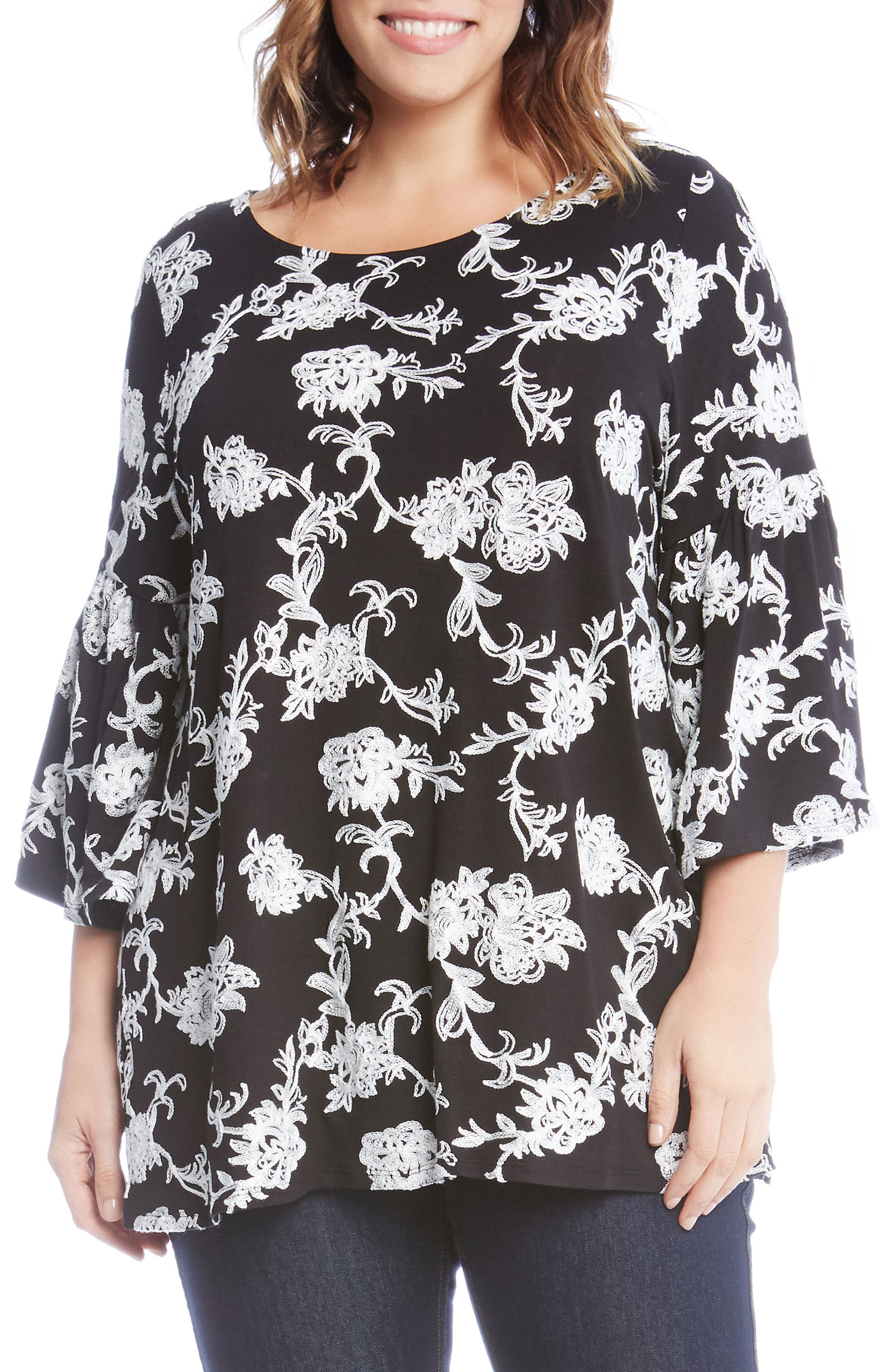Embroidered Knit Top,                             Main thumbnail 1, color,                             Black
