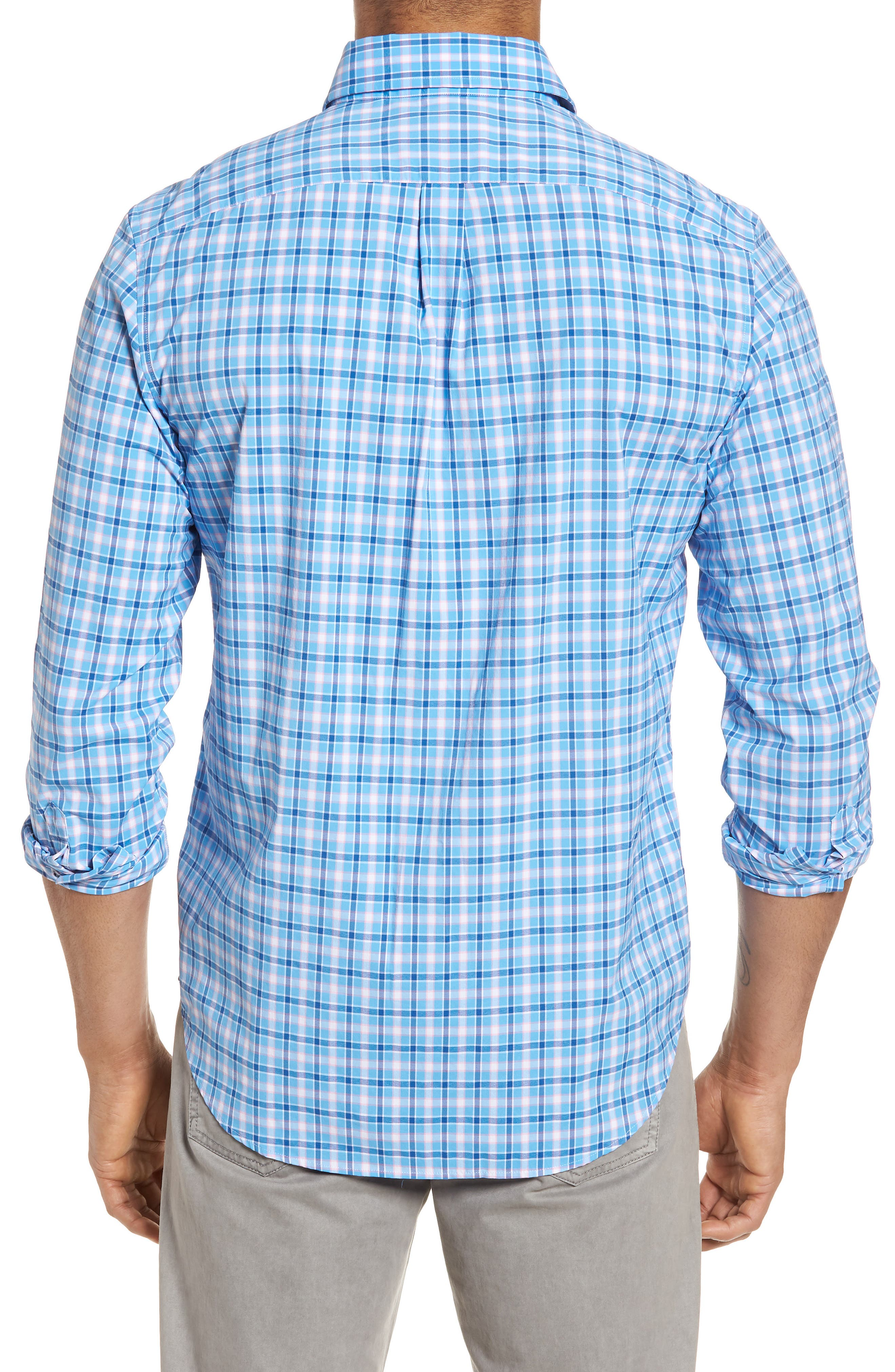 Lyford Cay Classic Fit Stretch Check Sport Shirt,                             Alternate thumbnail 2, color,                             Ocean Breeze