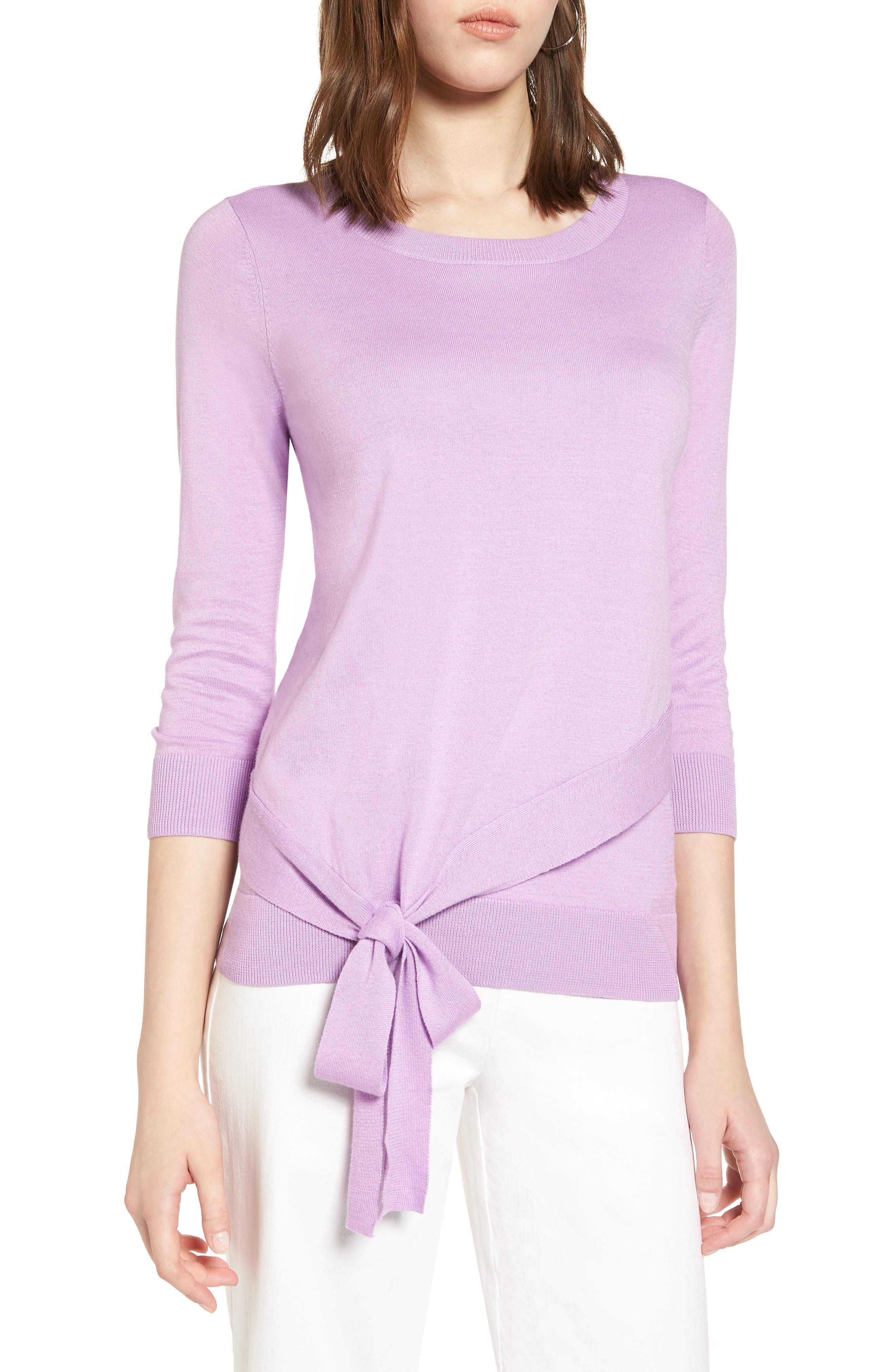 Halogen® Pima Cotton Blend Tie Sweater