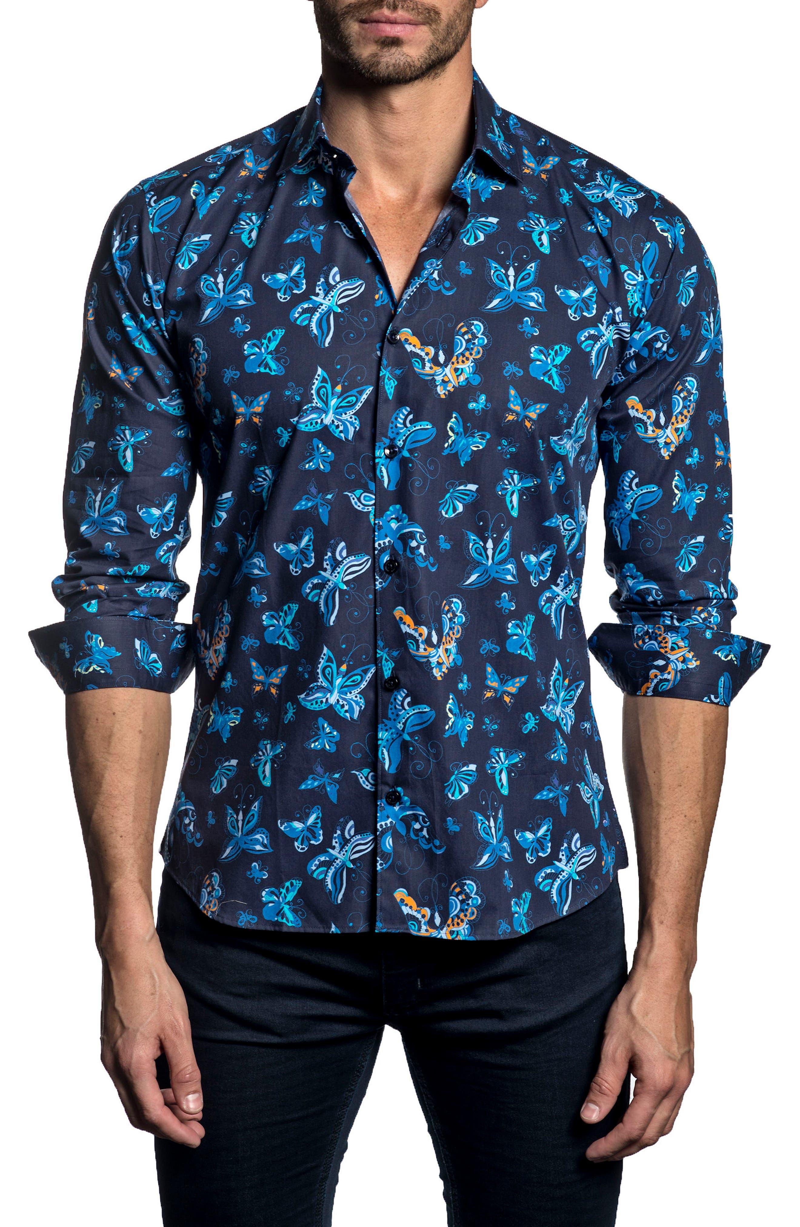 Trim Fit Print Sport Shirt,                         Main,                         color, Navy Print