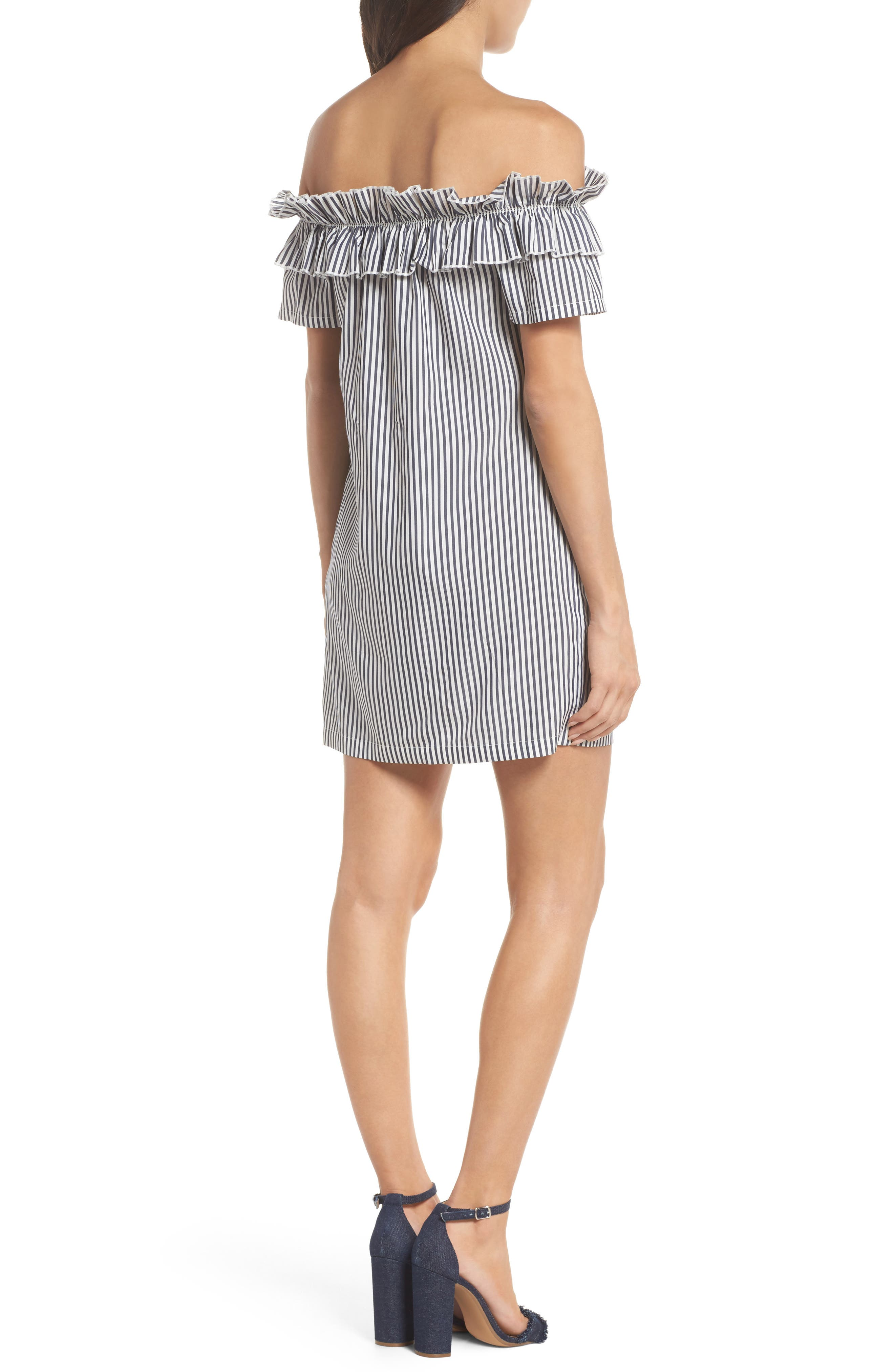 Patio Only Stripe Minidress,                             Alternate thumbnail 2, color,                             Navy/ White Mini Stripe