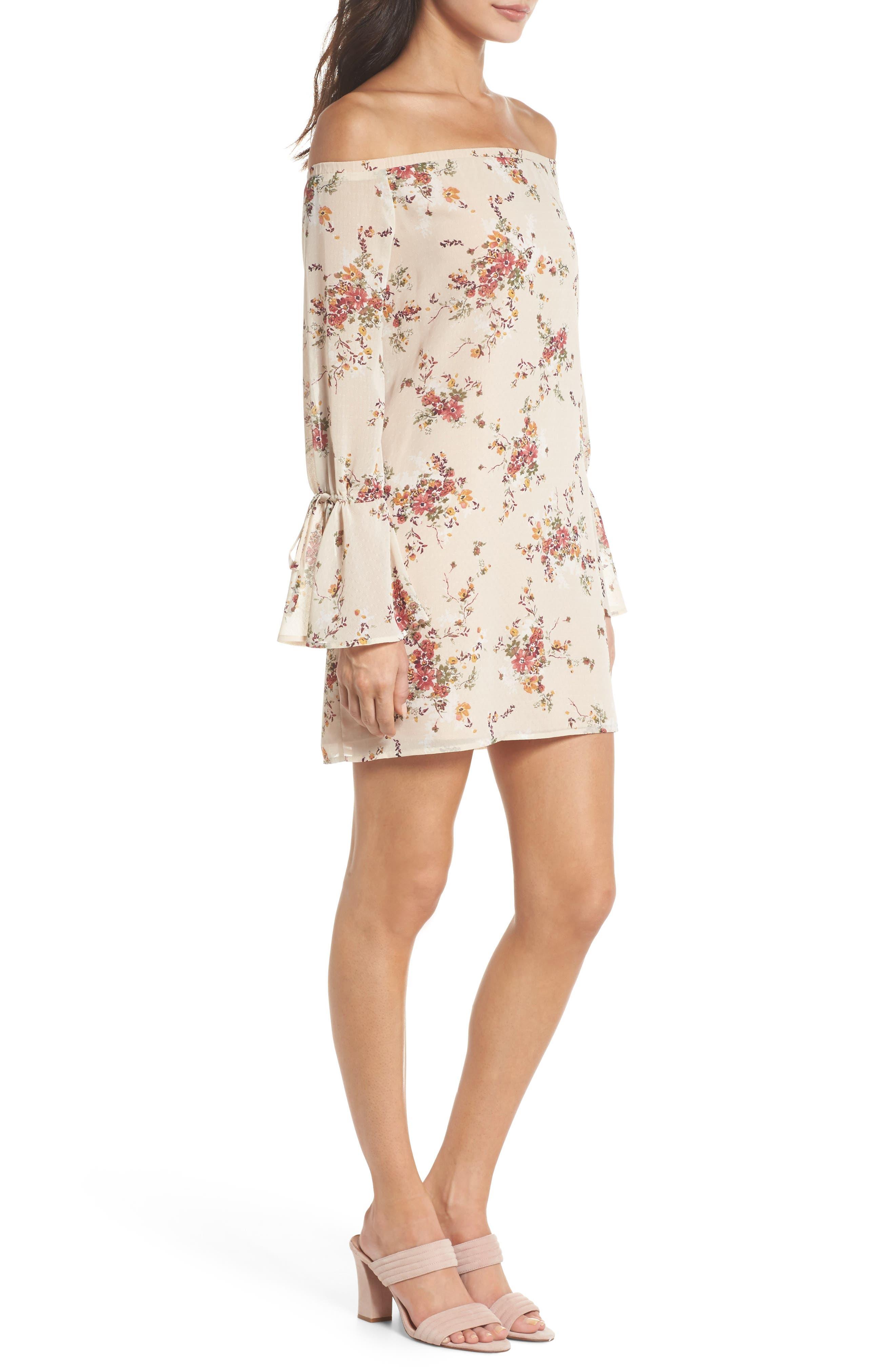 It's Love Floral Off the Shoulder Shift Dress,                             Alternate thumbnail 3, color,                             Crme Vintage Bouquet