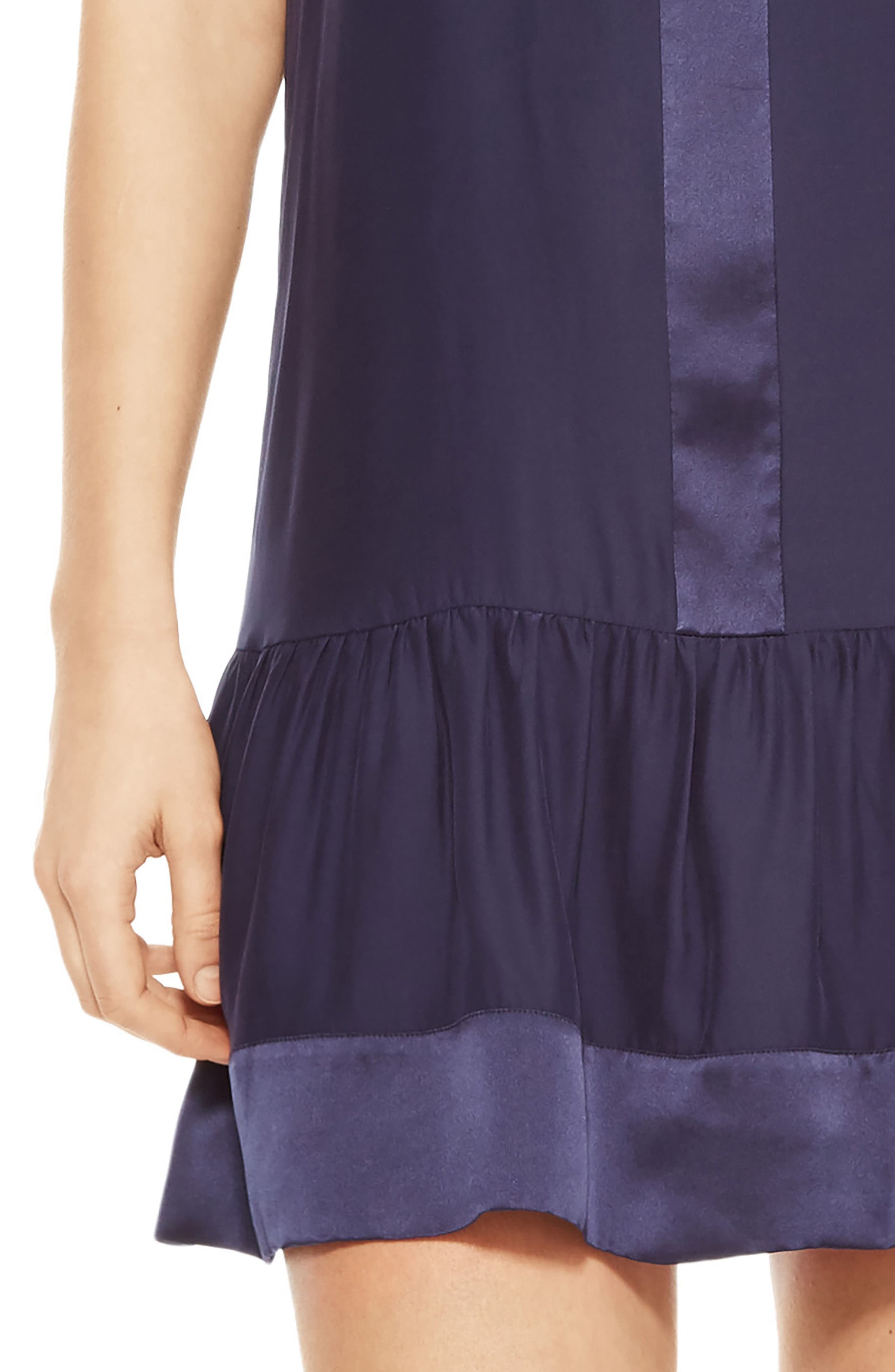 Stacey Silk Dress,                             Alternate thumbnail 4, color,                             Blue Horizon