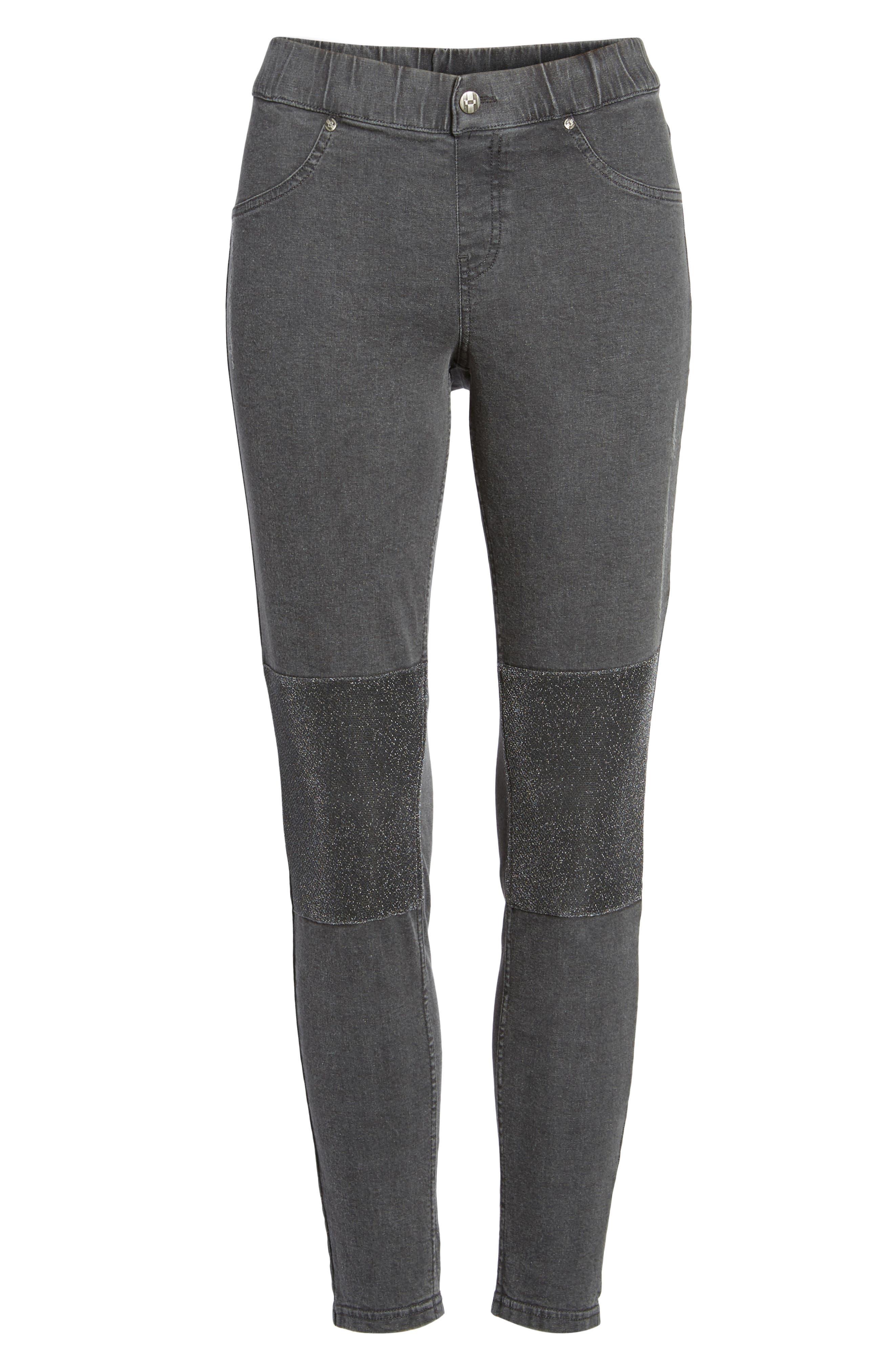 Metallic Knee Patch Denim Skimmer Leggings,                             Alternate thumbnail 6, color,                             Graphite Wash