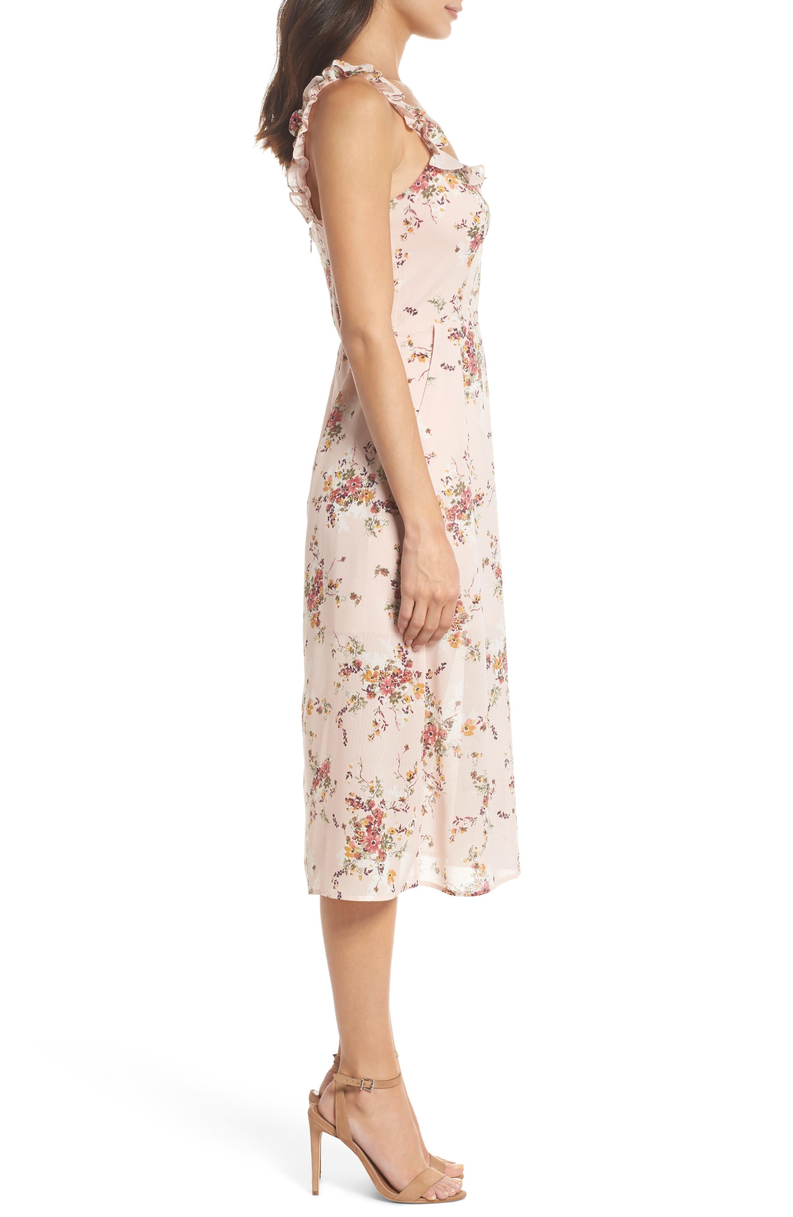 Atwater Village Midi Dress,                             Alternate thumbnail 3, color,                             Blush Vintage Bouquet