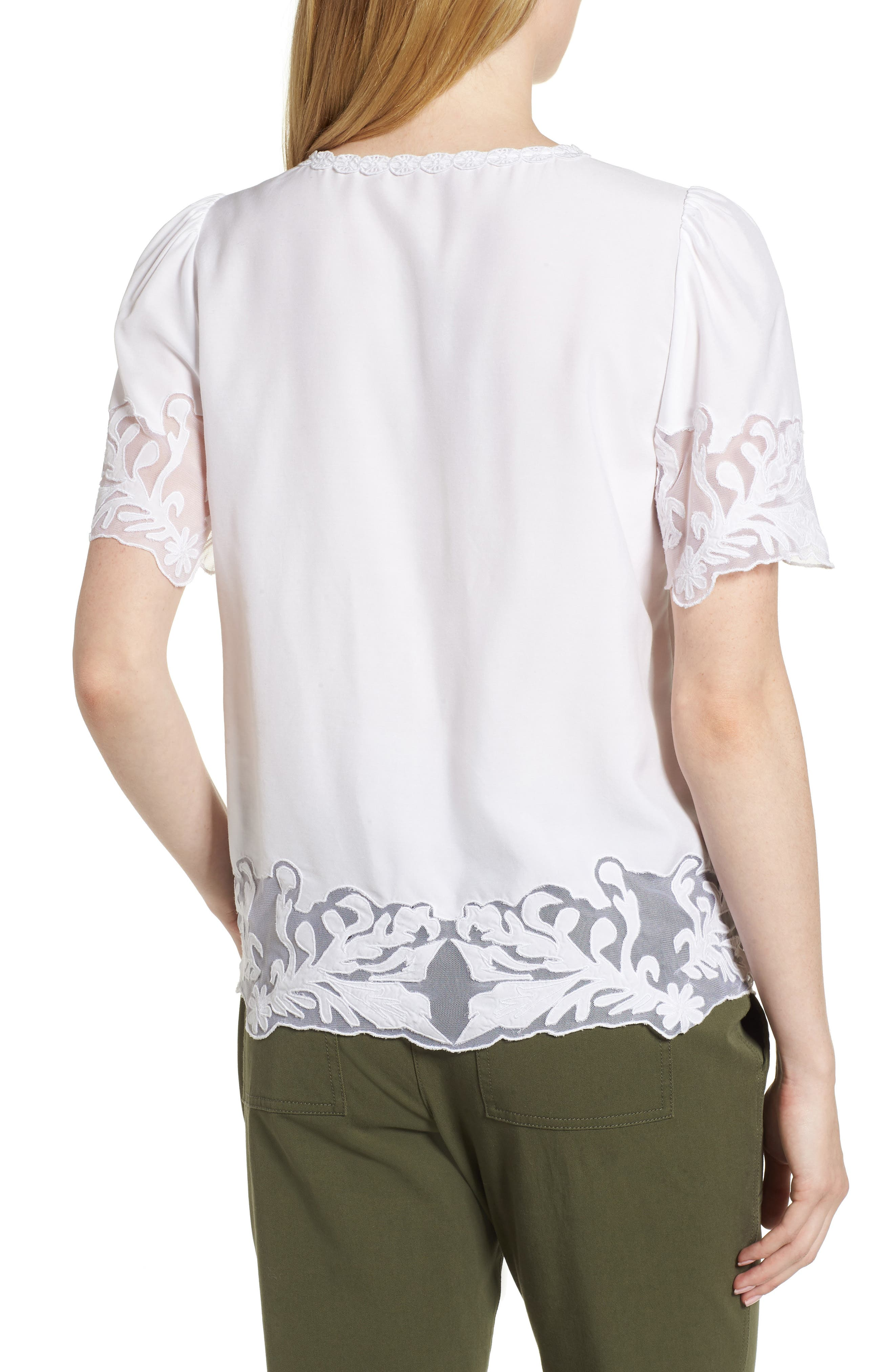 Embroidered Appliqué Top,                             Alternate thumbnail 2, color,                             White