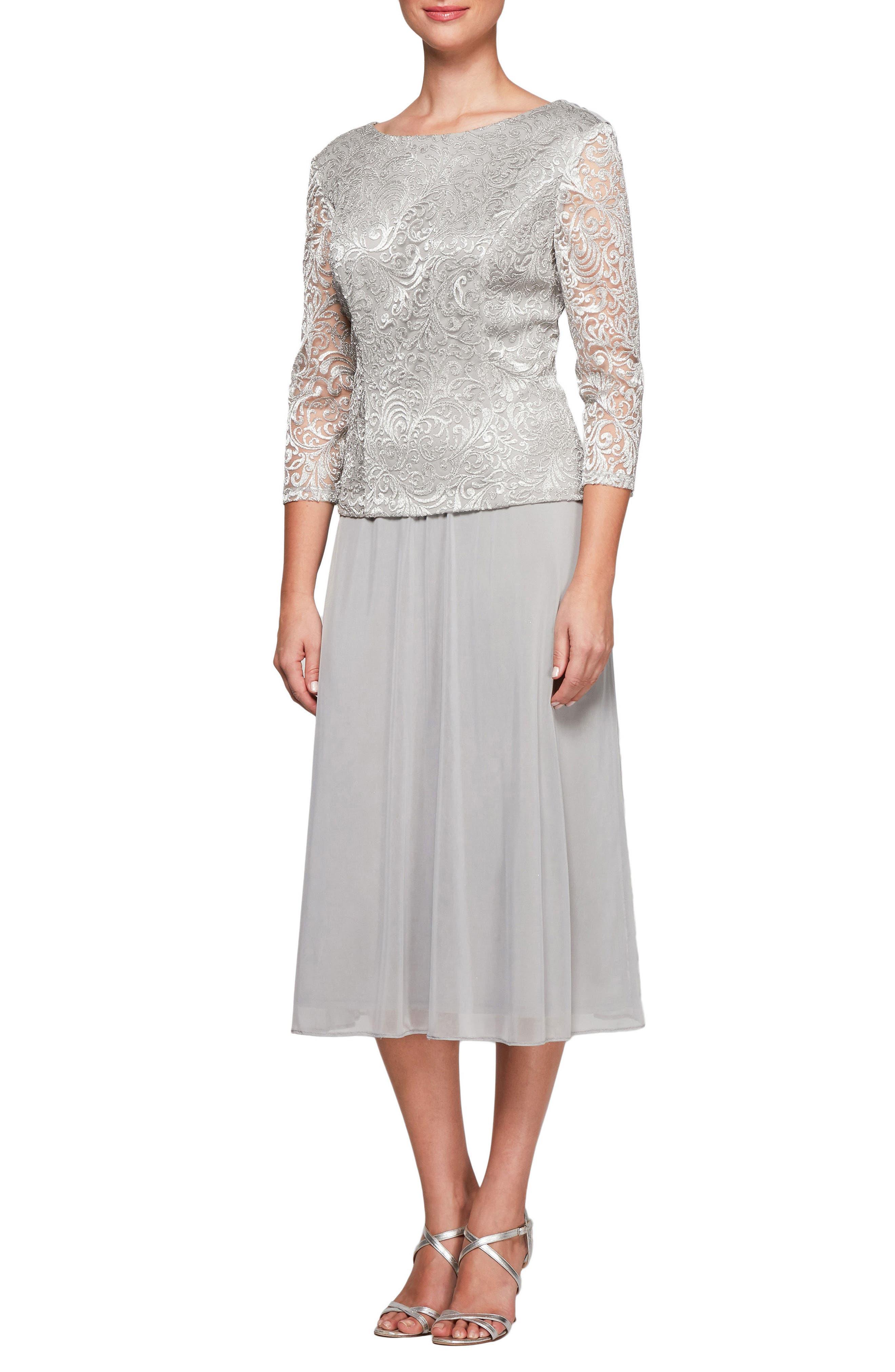 Alex Evenings Mock Two-Piece Tea Length Dress (Regular & Petite)