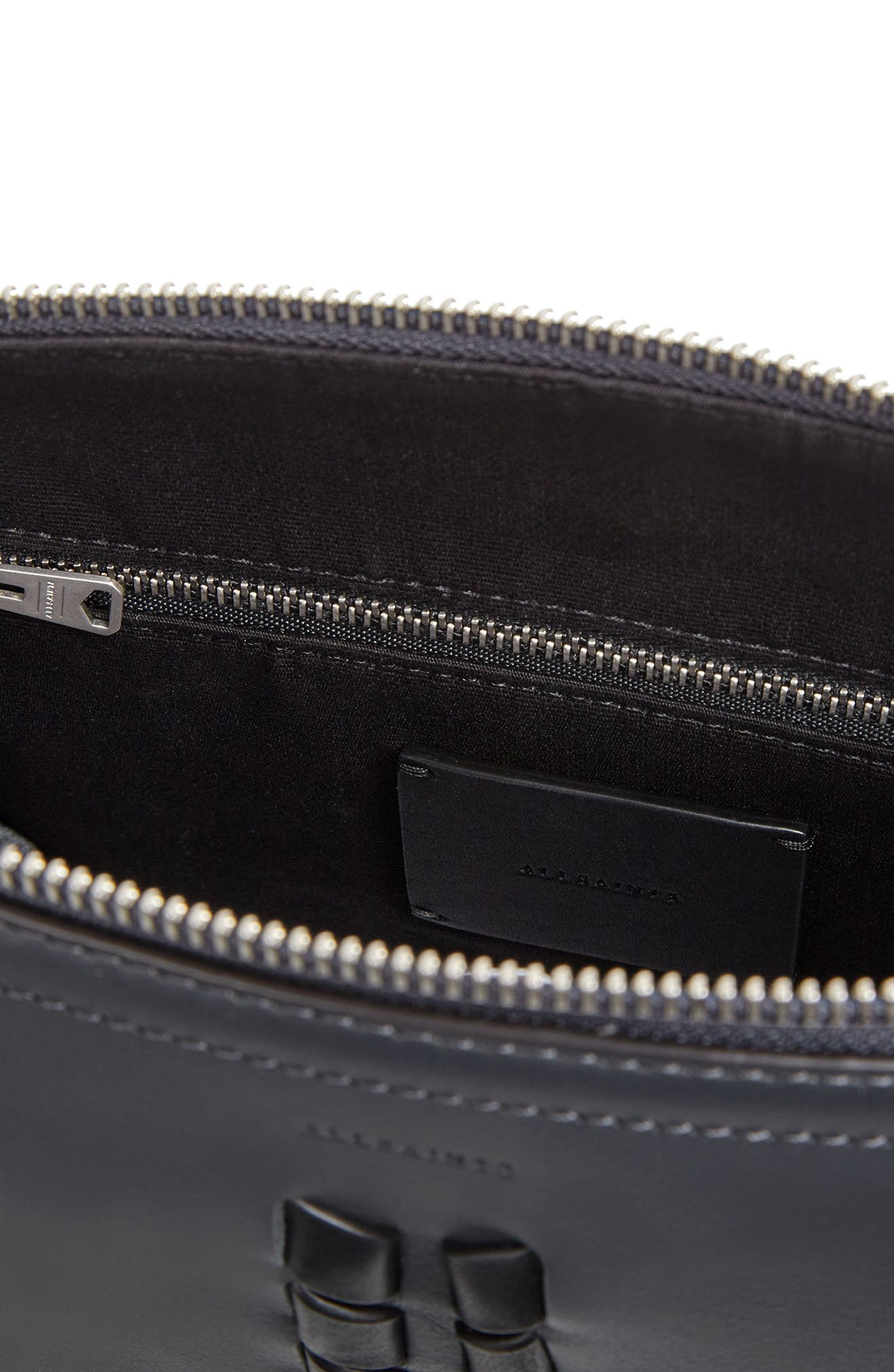 Kepi Leather Crossbody Bag,                             Alternate thumbnail 4, color,                             Navy Black
