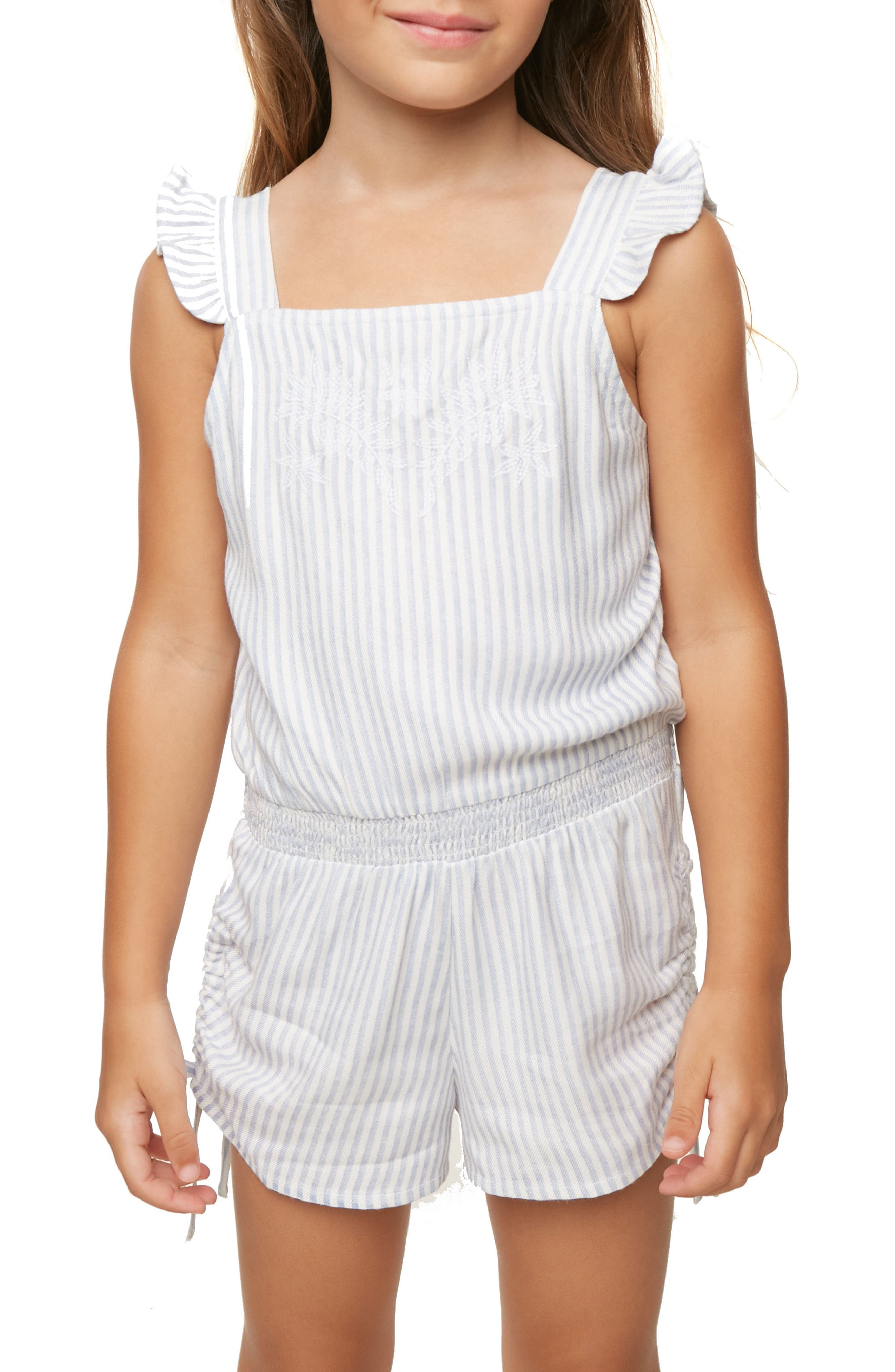 Lemonade Stripe Romper,                             Main thumbnail 1, color,                             Bleached Periwinkle
