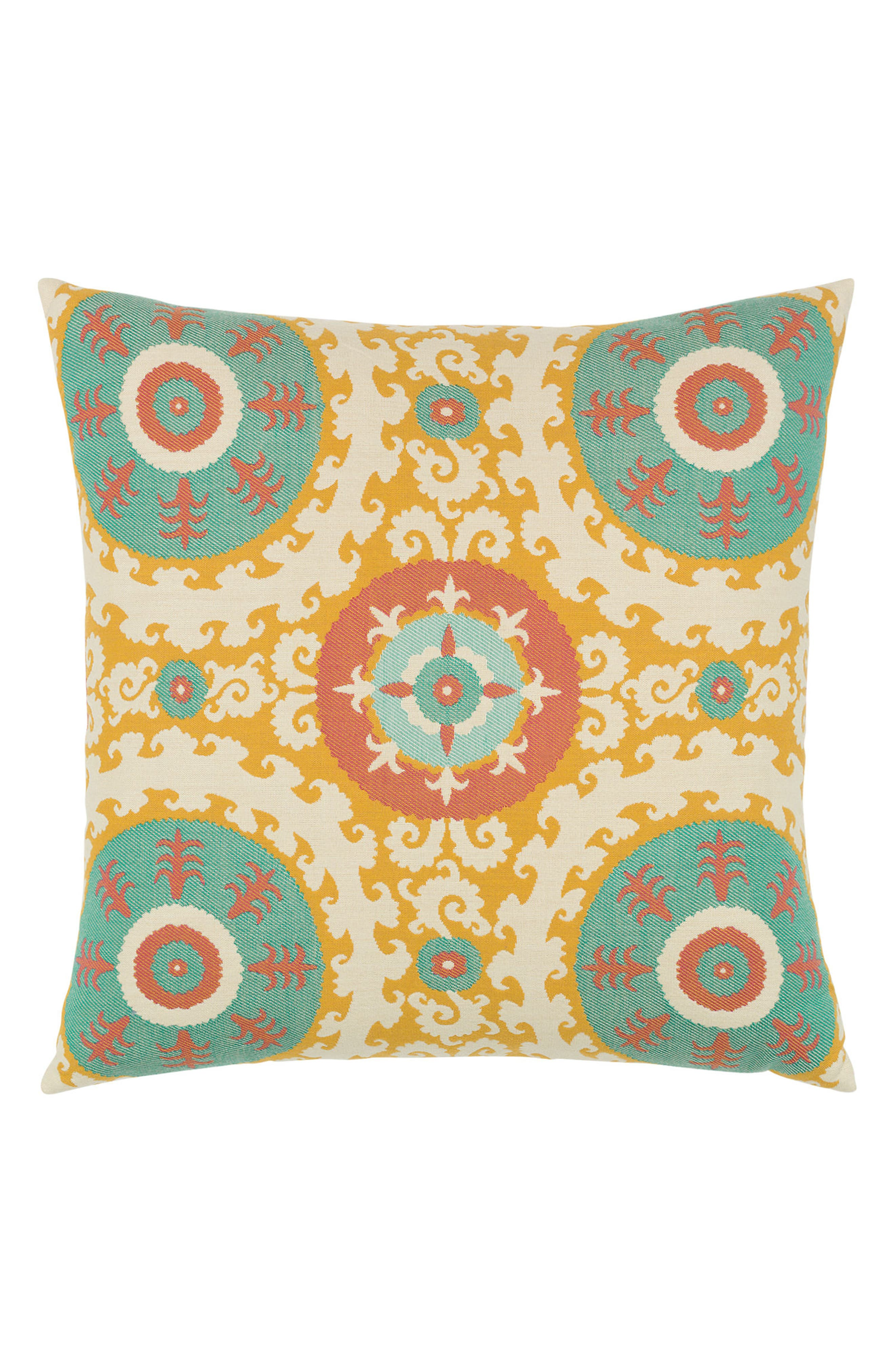 Suzani Candy Indoor/Outdoor Accent Pillow,                             Main thumbnail 1, color,                             Blue/ Yellow