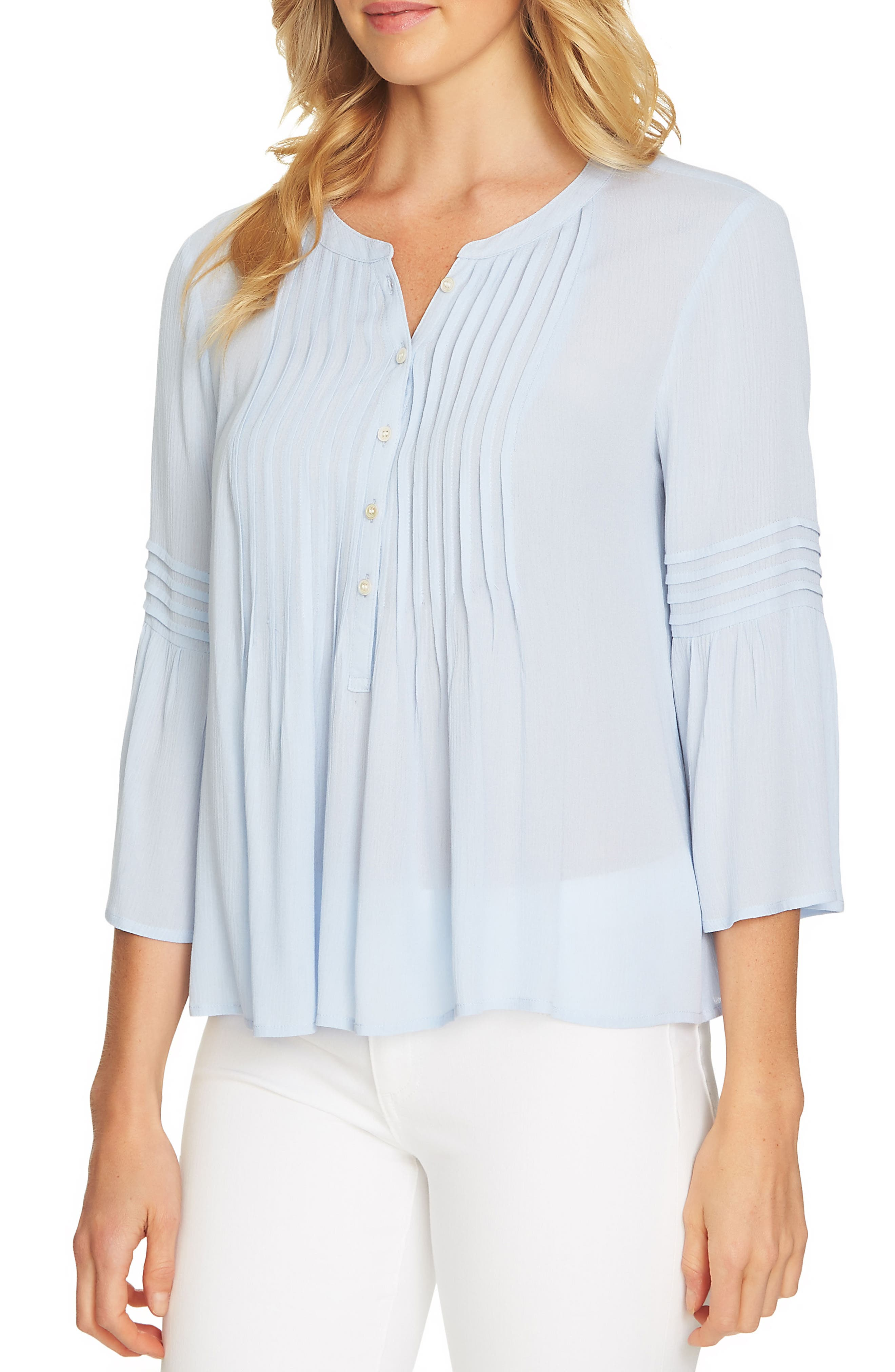 CeCe Ruffled Sleeve Pintuck Top. BLUEBIRD; DUSTY OLIVE; NAVAL NAVY; ULTRA  WHITE