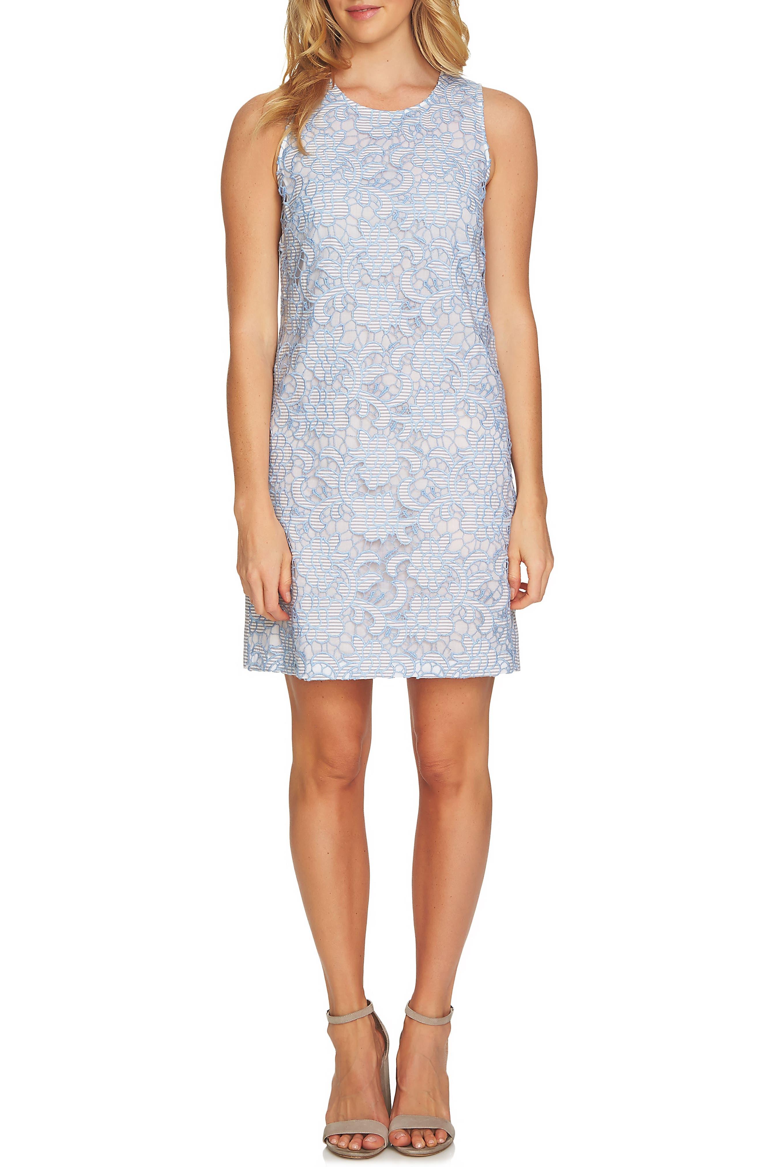 Lace Sheath Dress,                             Main thumbnail 1, color,                             Bluebird