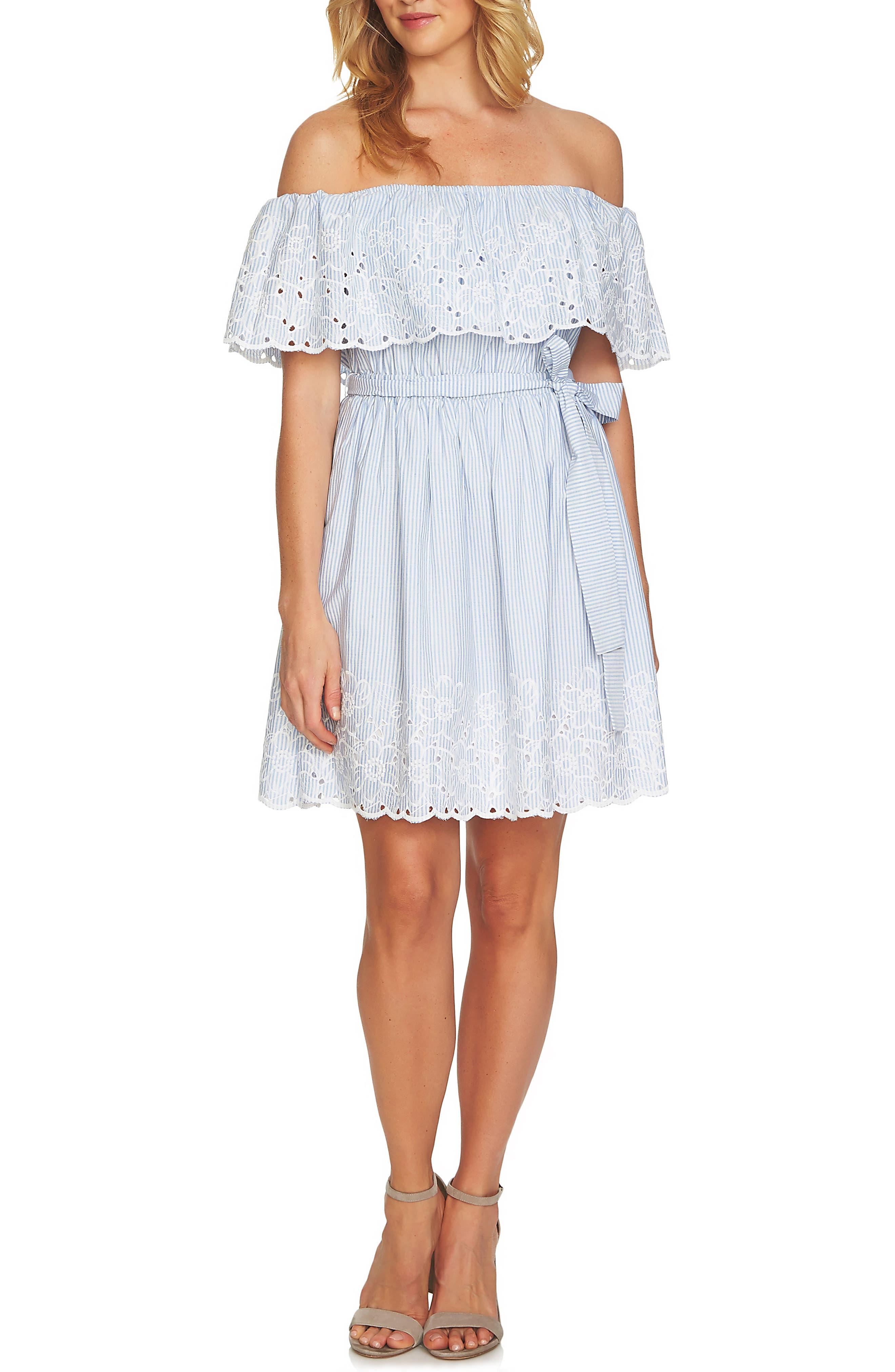 Off the Shoulder Seersucker Dress,                         Main,                         color, Blue Bird