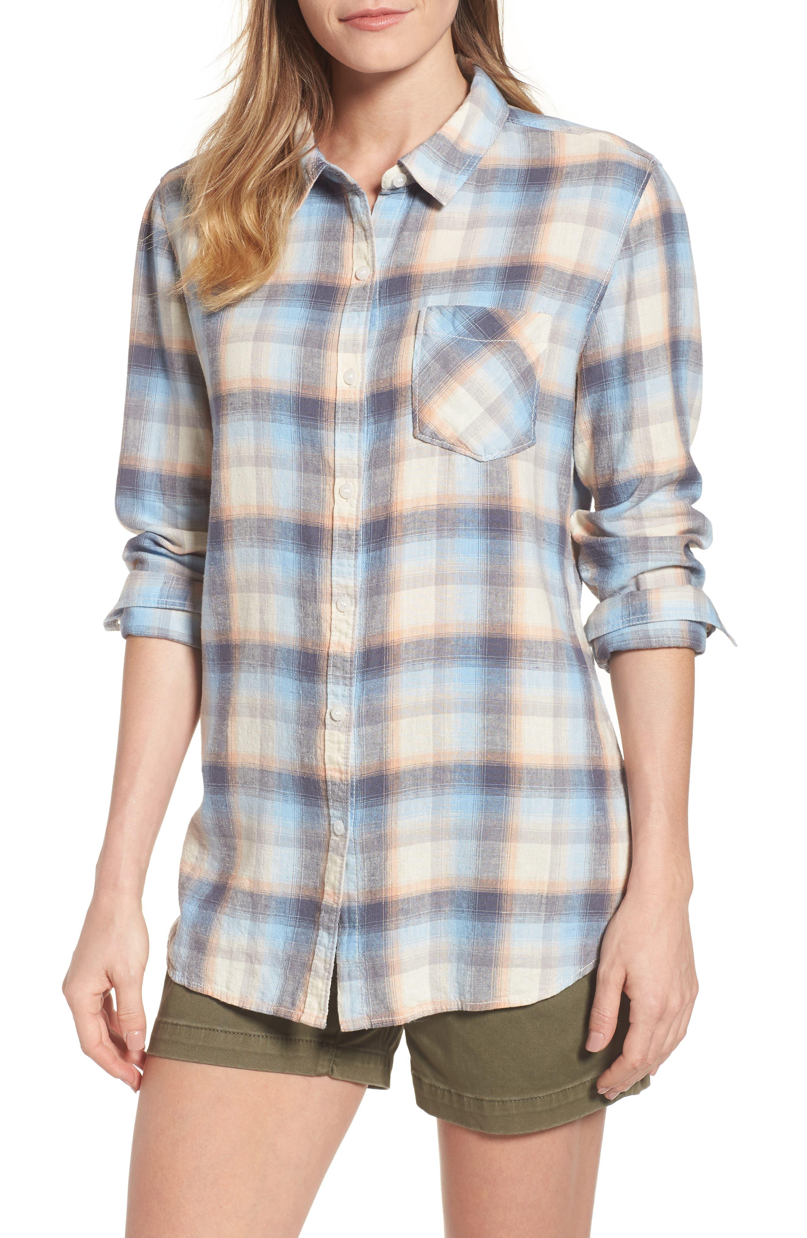 Plaid Linen Blend Shirt,                         Main,                         color, Blue Plaid