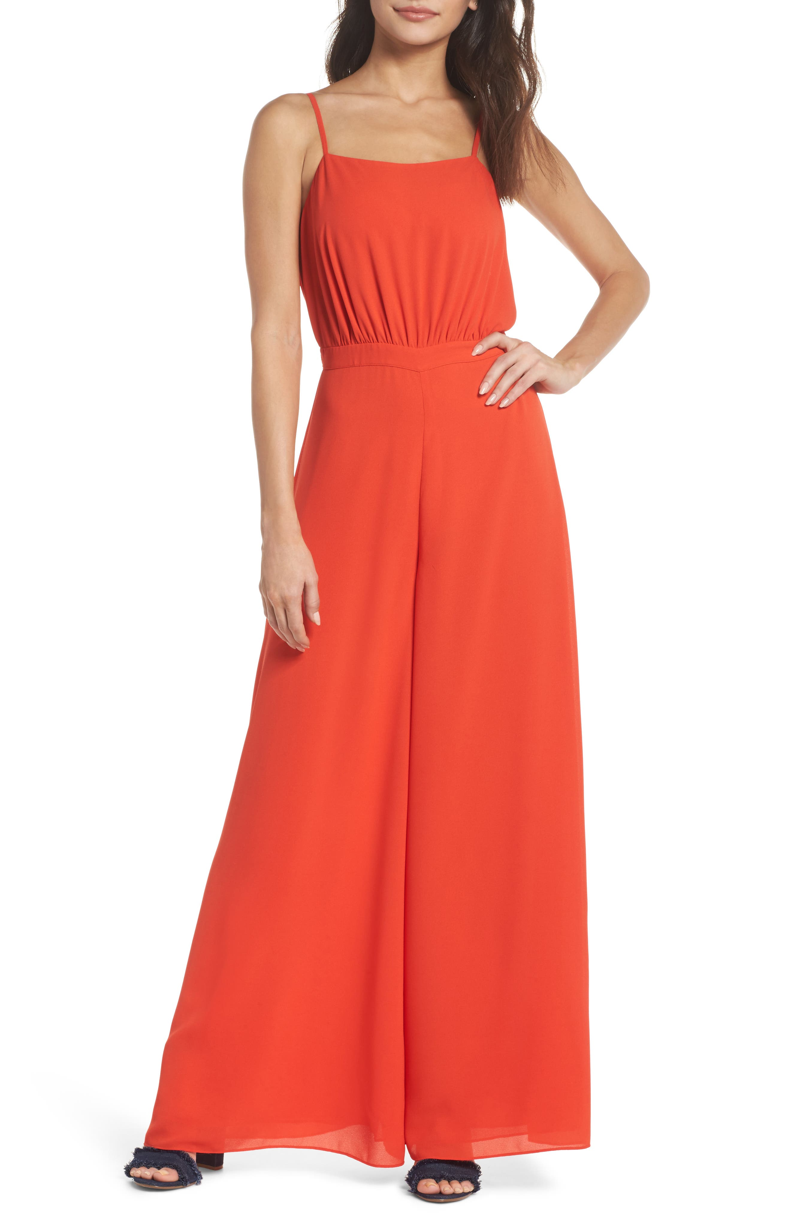 Lunching Lady Jumpsuit,                         Main,                         color, Poppy