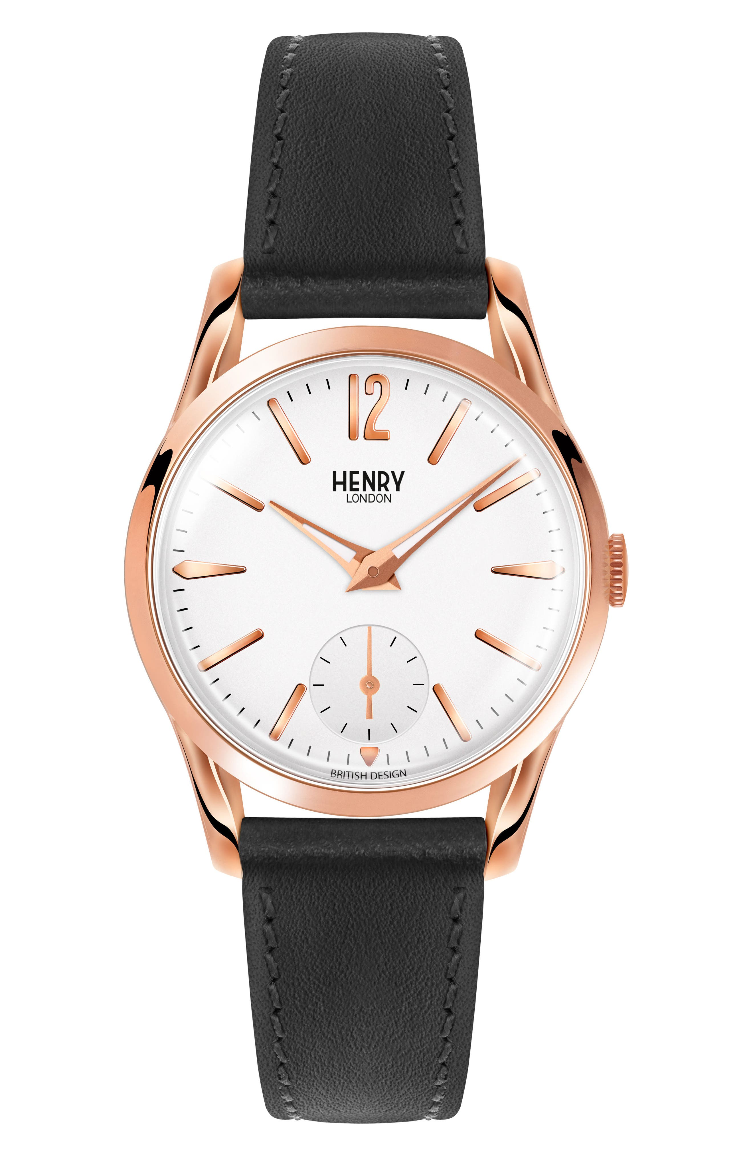 Alternate Image 1 Selected - Henry London Richmond Leather Strap Watch, 30mm